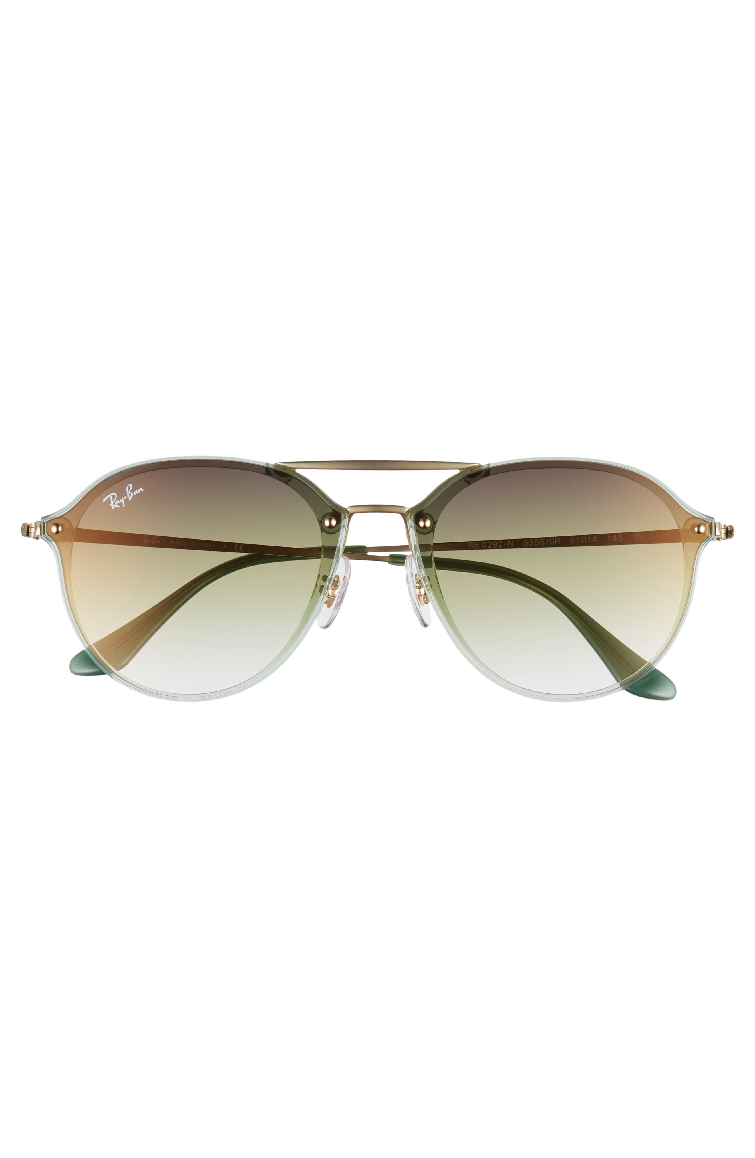 61mm Gradient Aviator Sunglasses,                             Alternate thumbnail 3, color,                             GREEN/ GOLD GRADIENT