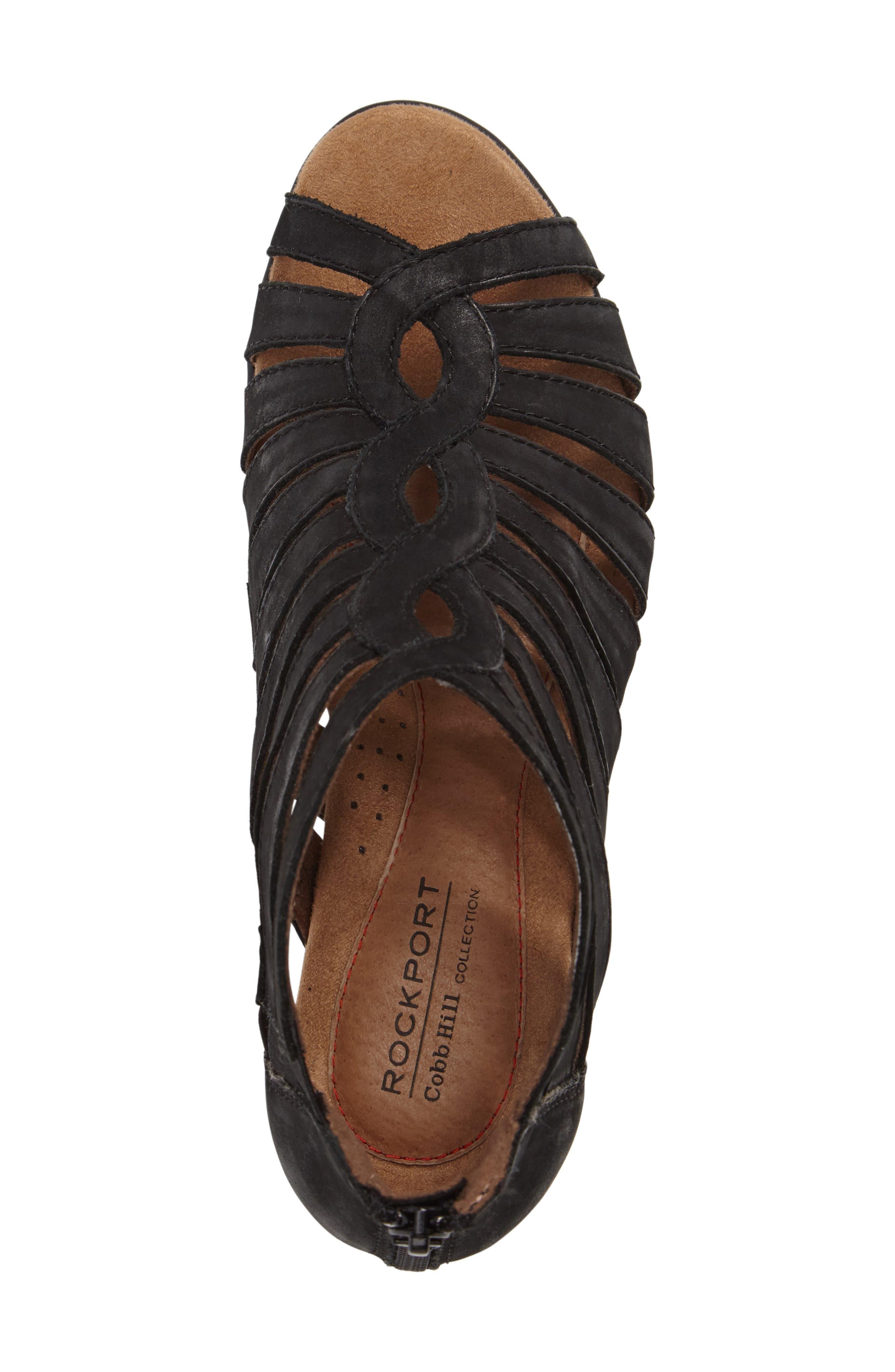 Abbott Caged Sandal,                             Alternate thumbnail 5, color,                             BLACK LEATHER