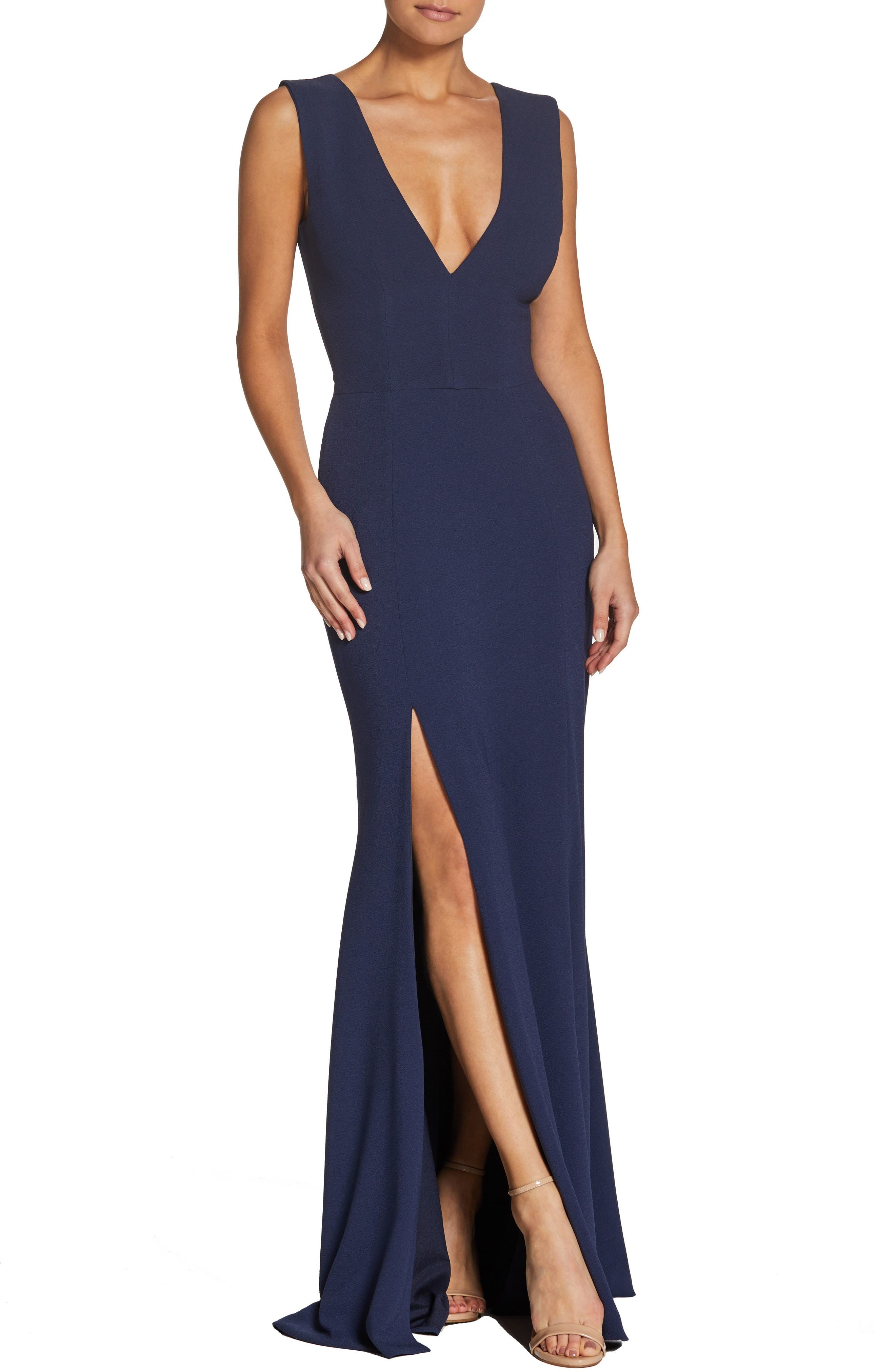 Dress The Population Sandra Plunge Crepe Trumpet Gown, Blue