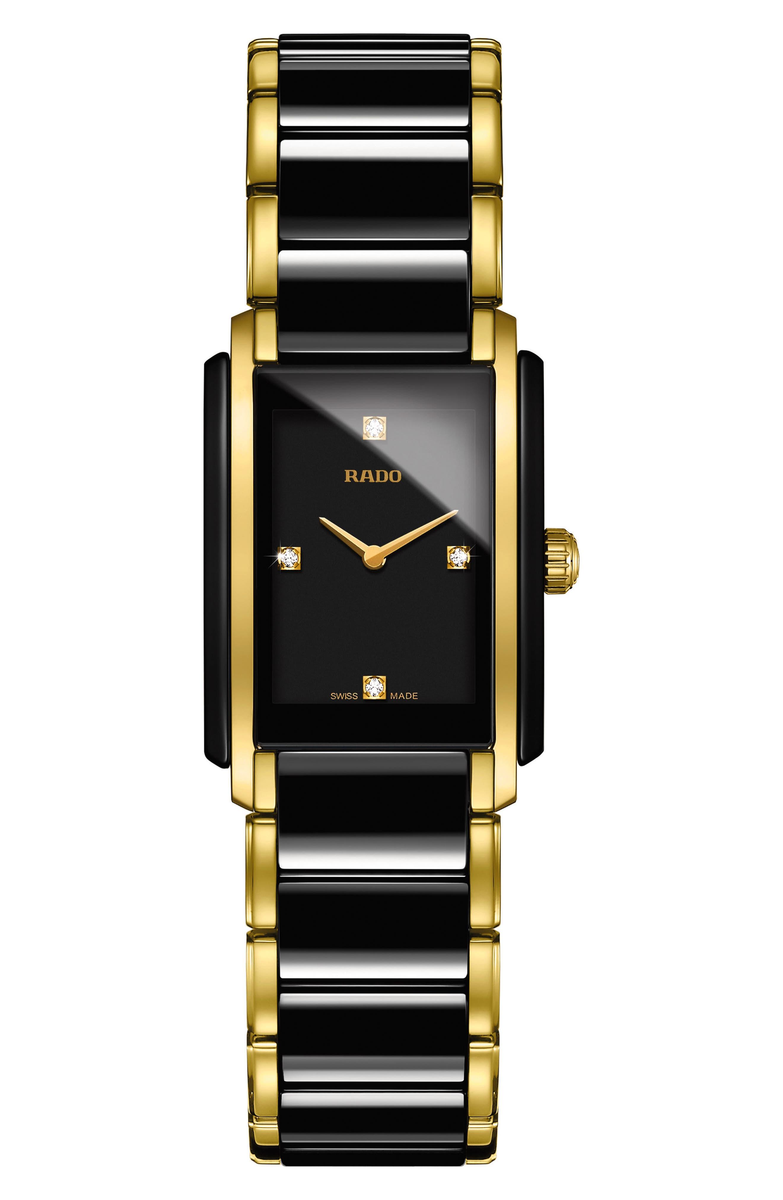 Integral Diamonds Tank Bracelet Watch, 22mm x 33mm,                             Main thumbnail 1, color,                             GOLD/ BLACK