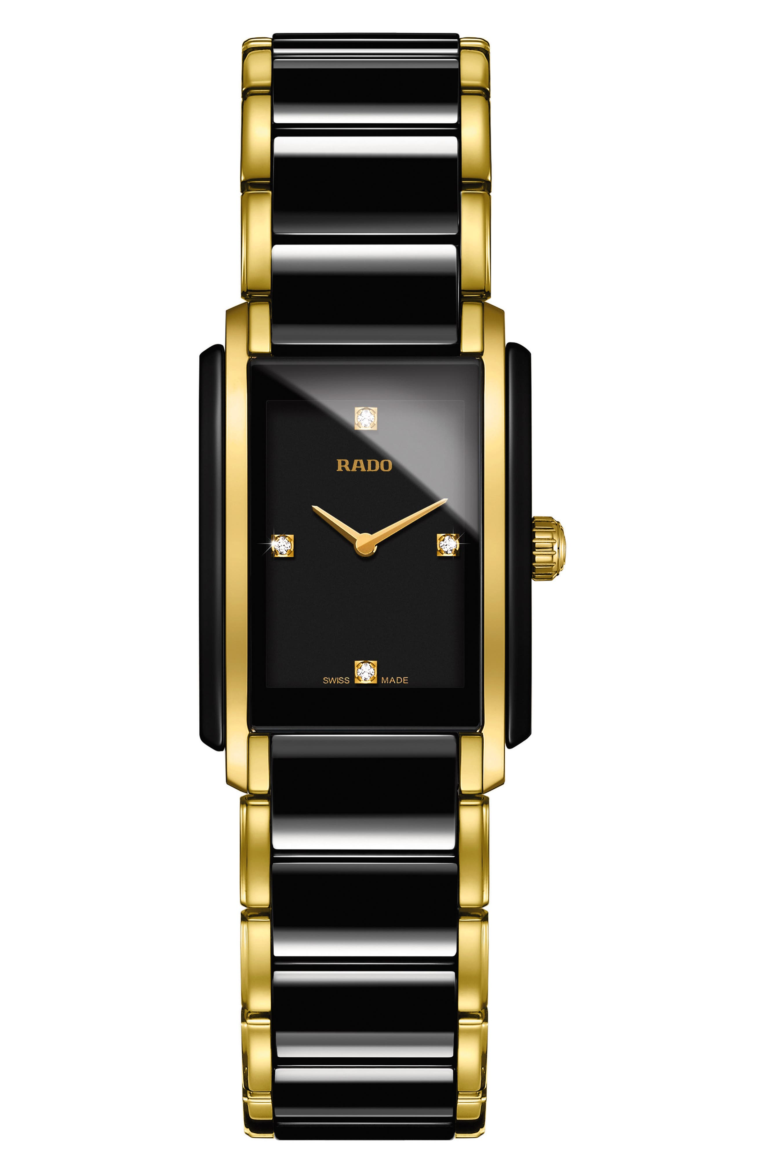 Integral Diamonds Tank Bracelet Watch, 22mm x 33mm,                         Main,                         color, GOLD/ BLACK