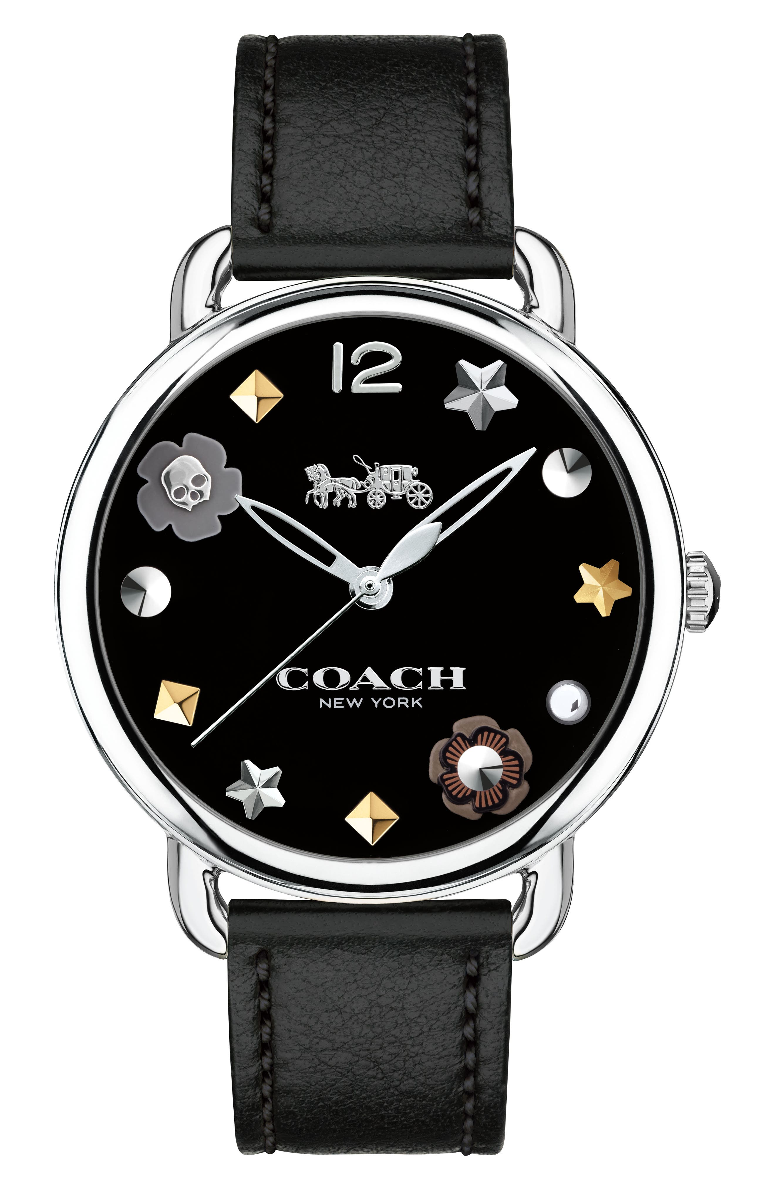 Delancey Leather Strap Watch, 36mm,                         Main,                         color, 001