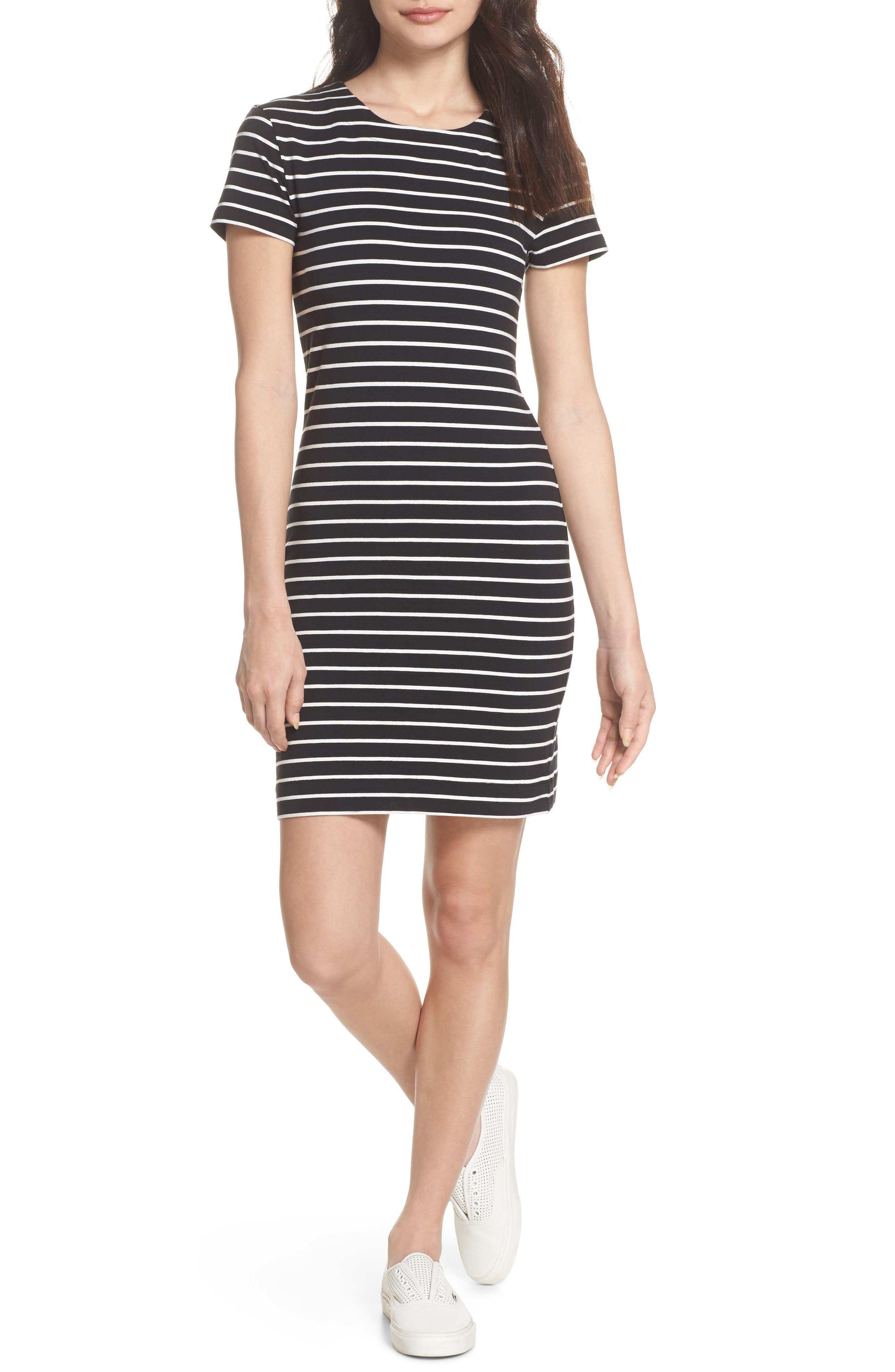 Knit Stripe Body-Con Dress,                             Main thumbnail 1, color,                             006