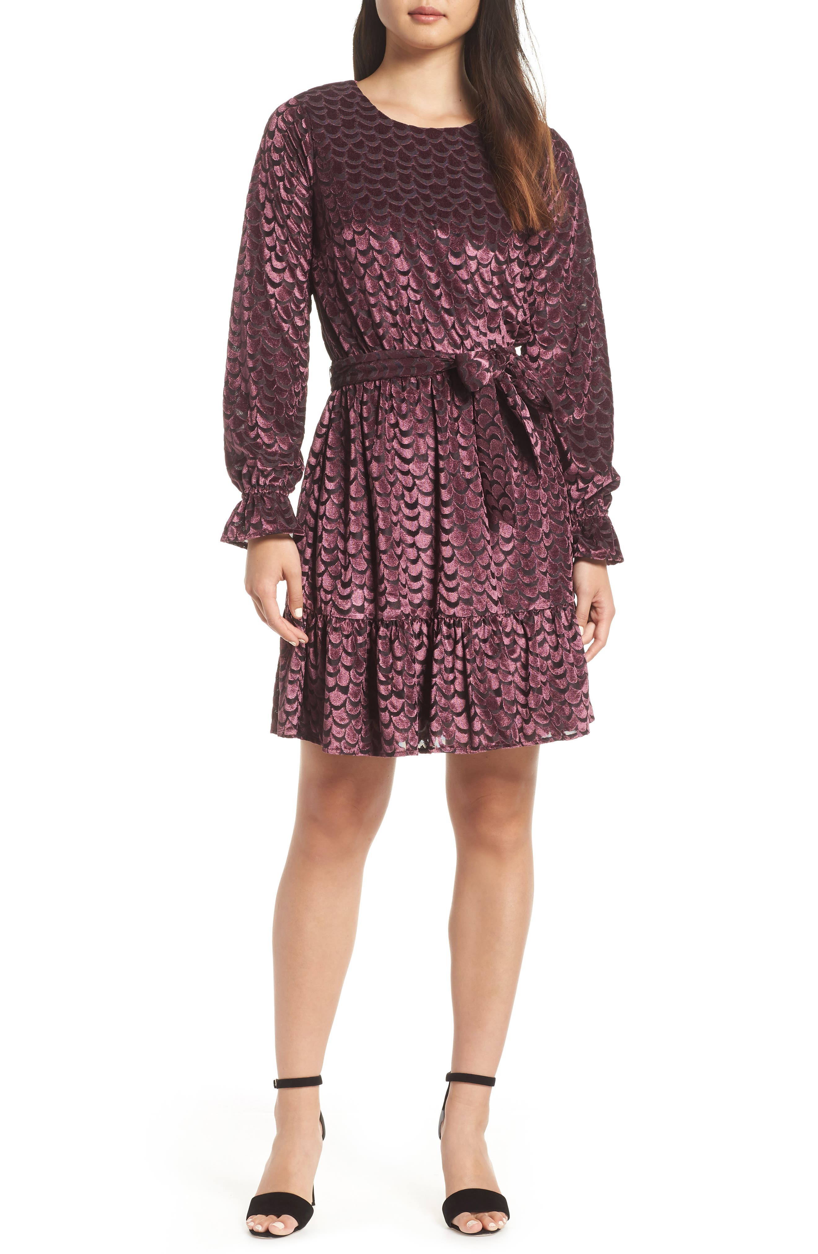 Velvet Tie Waist Dress,                             Main thumbnail 1, color,                             BLACK/ CORDOVAN