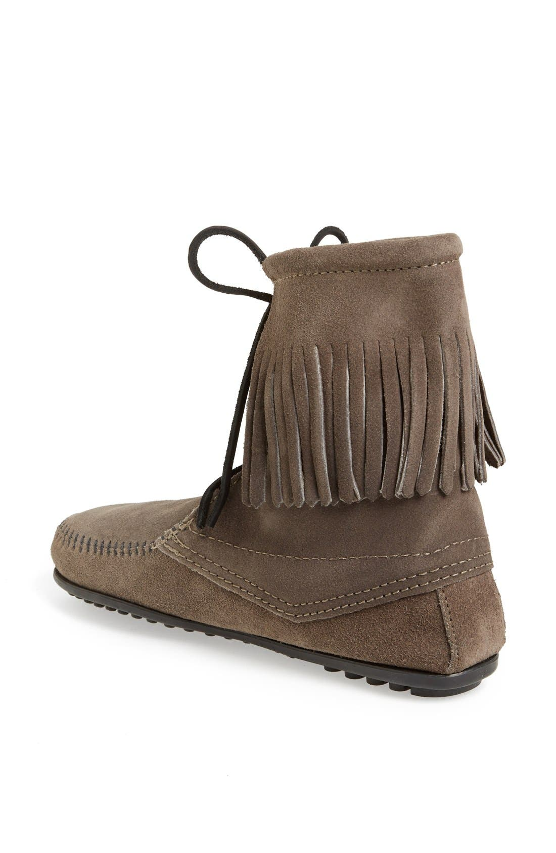 'Tramper' Fringed Suede Ankle Bootie,                             Alternate thumbnail 3, color,                             039