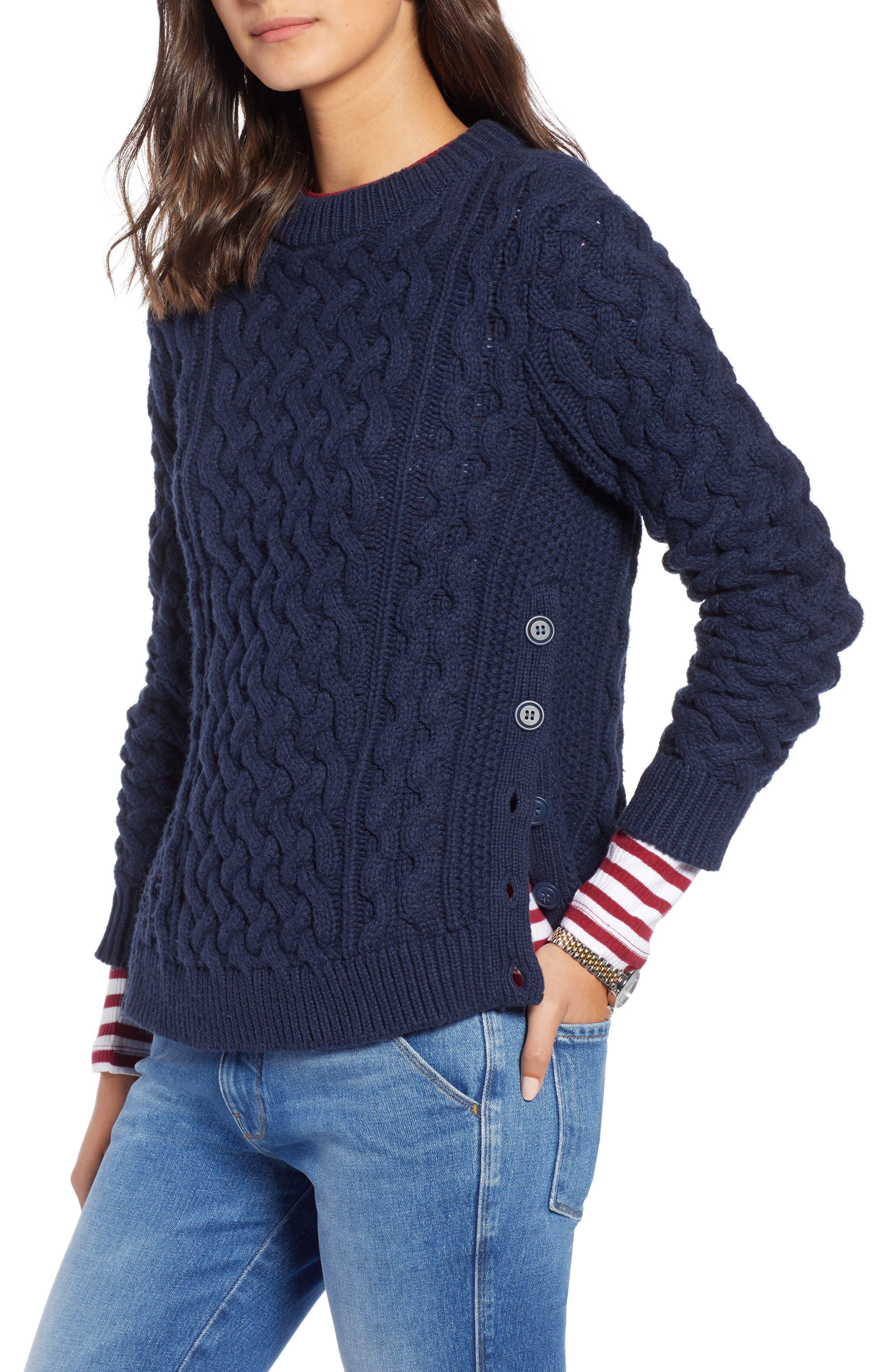 Fisherwoman Crewneck Pullover Sweater,                         Main,                         color, NAVY BLAZER