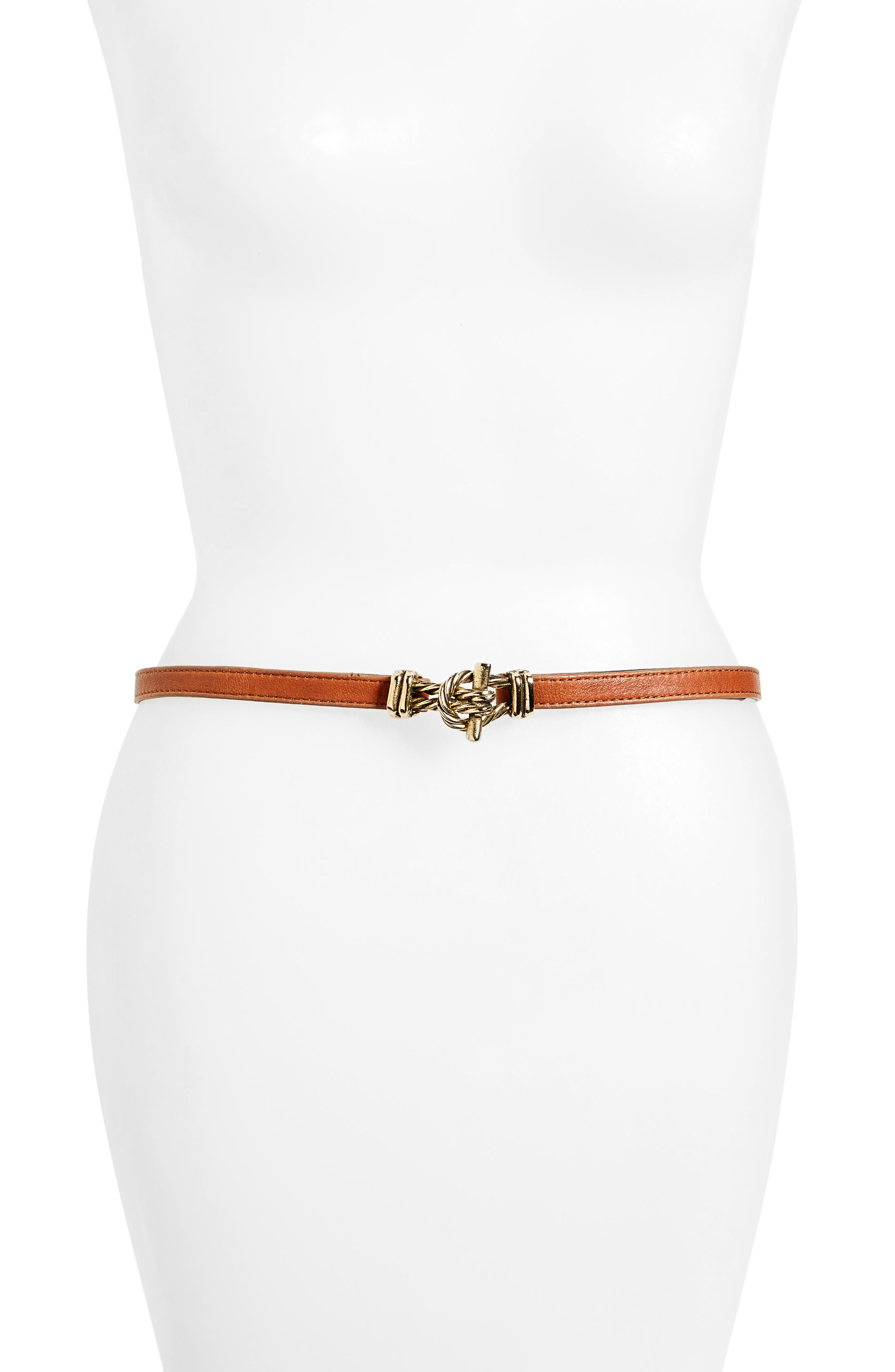 Raina Fitzgerald Leather Belt, Size One Size - Cognac