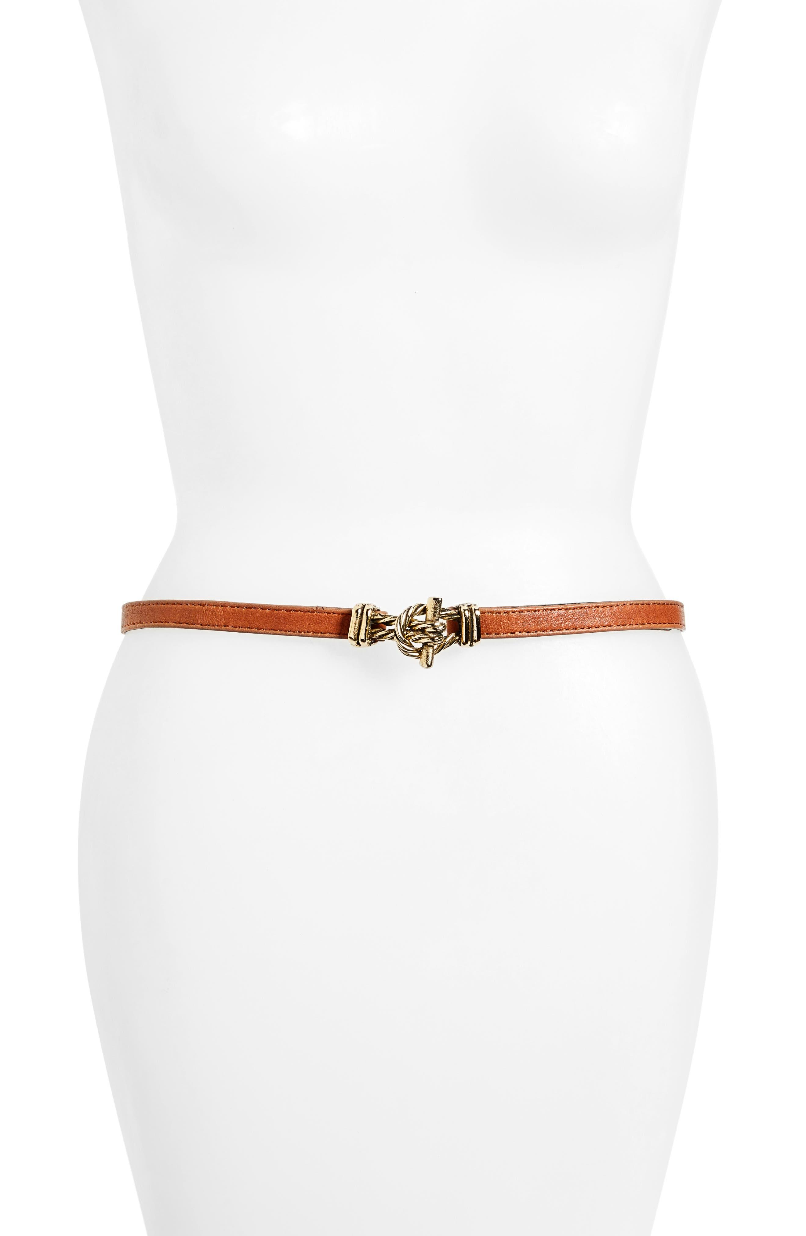 RAINA Fitzgerald Leather Belt, Main, color, COGNAC