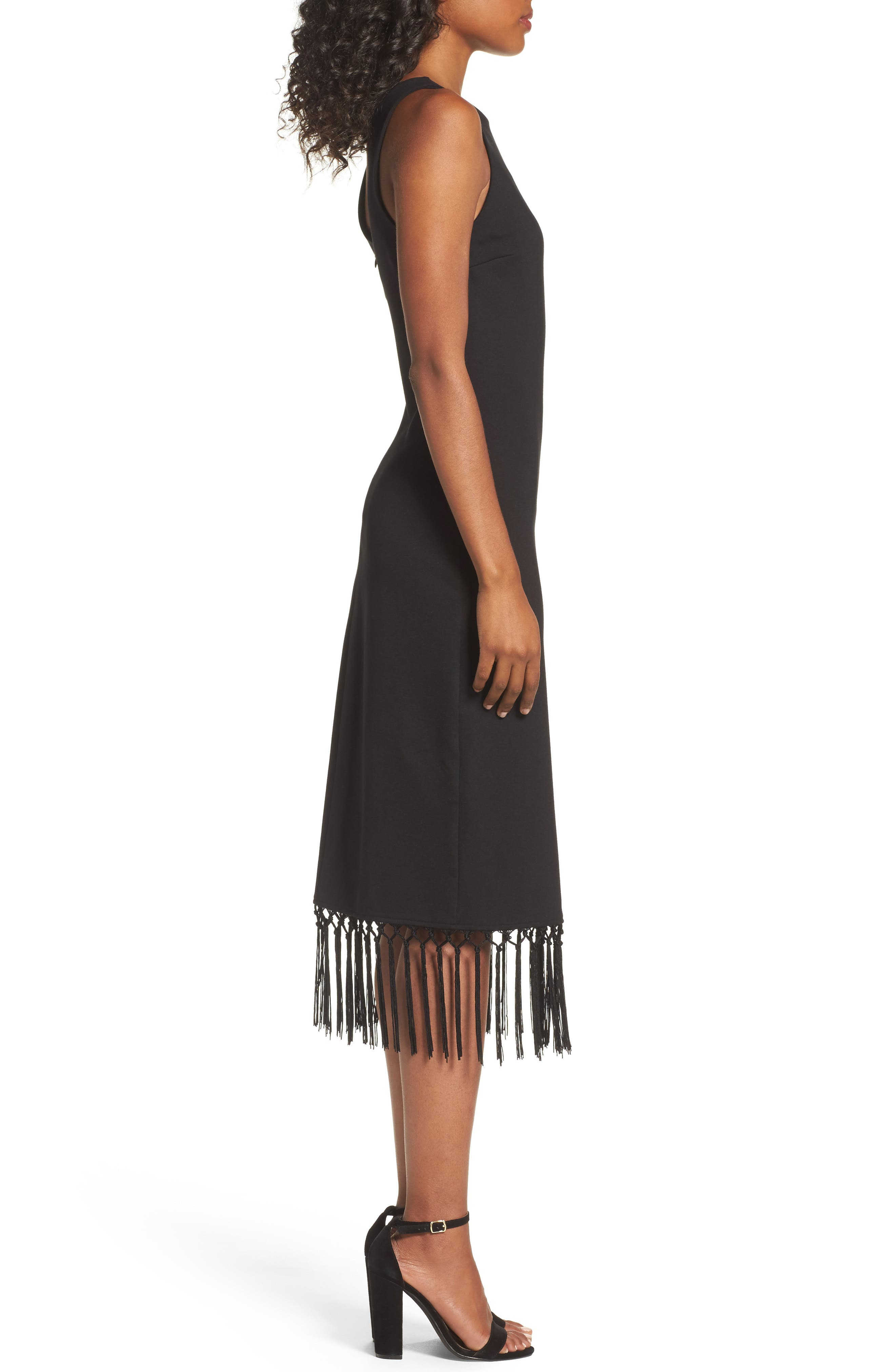 Tassel Midi Dress,                             Alternate thumbnail 3, color,                             001