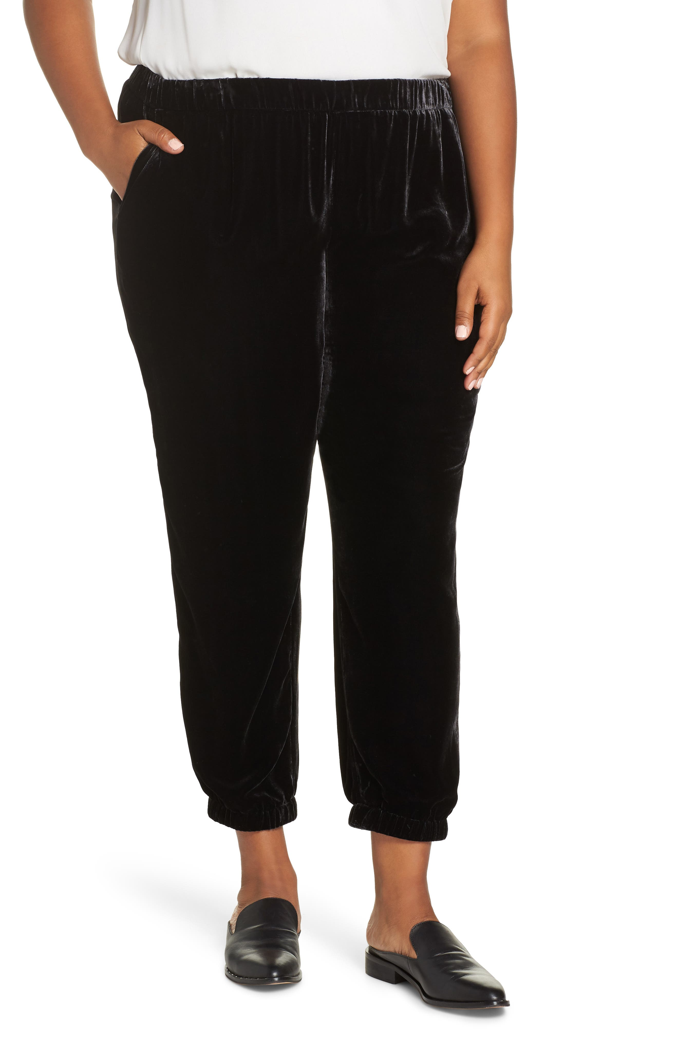 Velvet Ankle Pants,                         Main,                         color, CHARCOAL