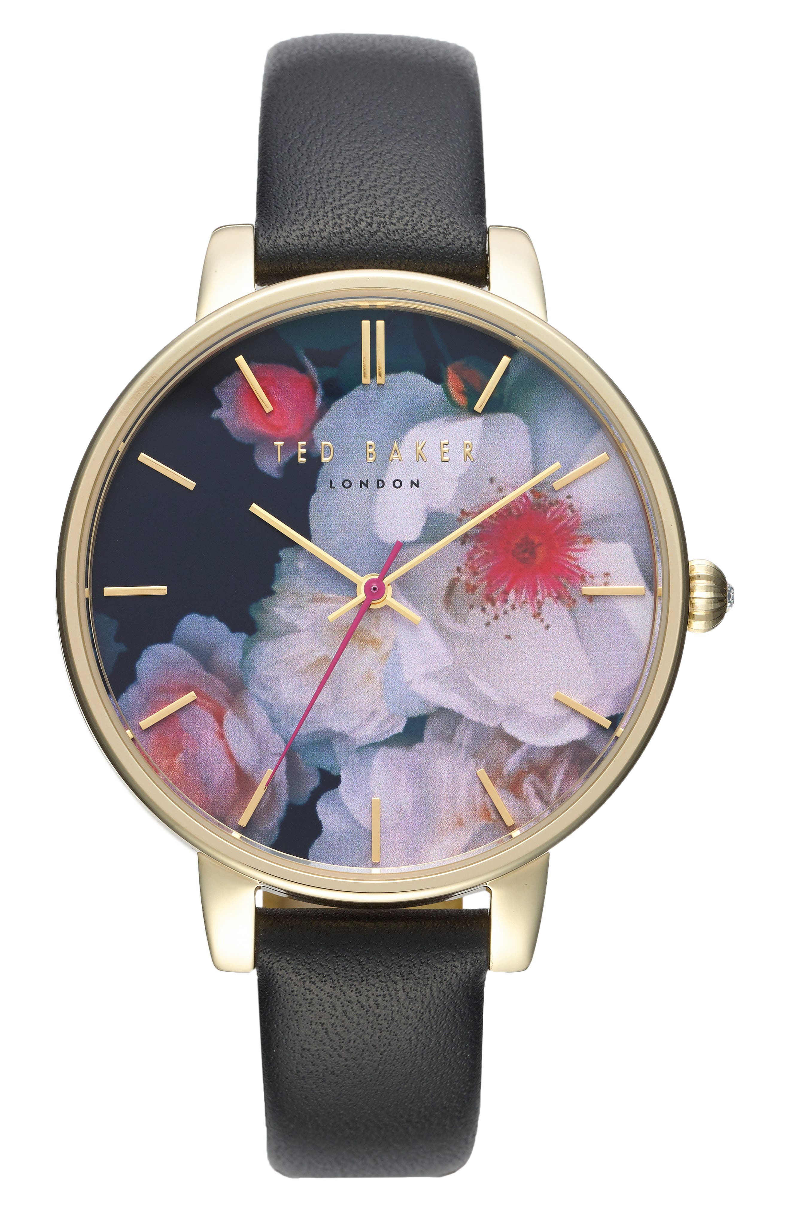 Kate Print Dial Leather Strap Watch, 38mm,                             Main thumbnail 1, color,                             001