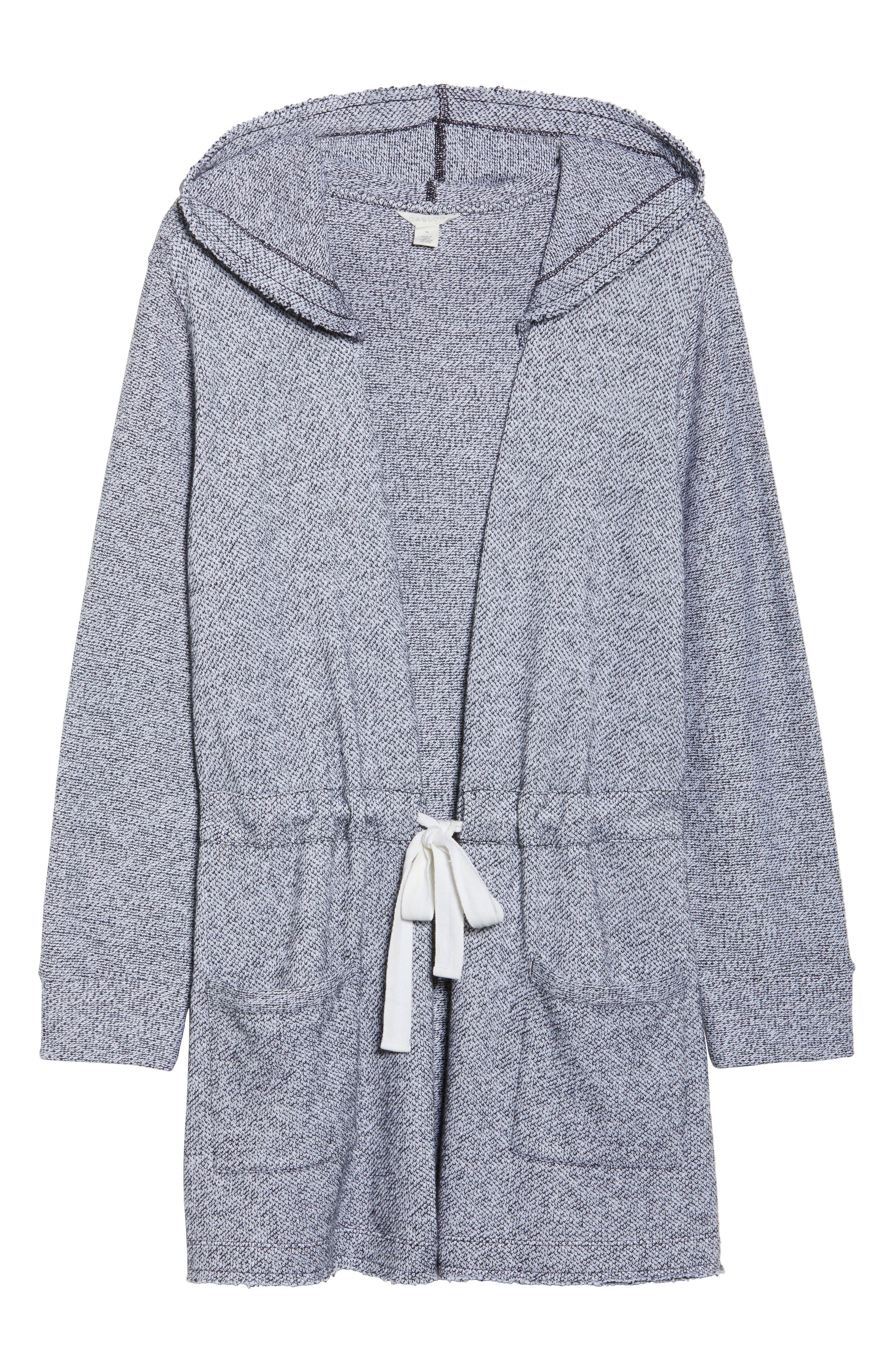 Tie Waist Knit Hooded Jacket,                             Alternate thumbnail 6, color,                             002