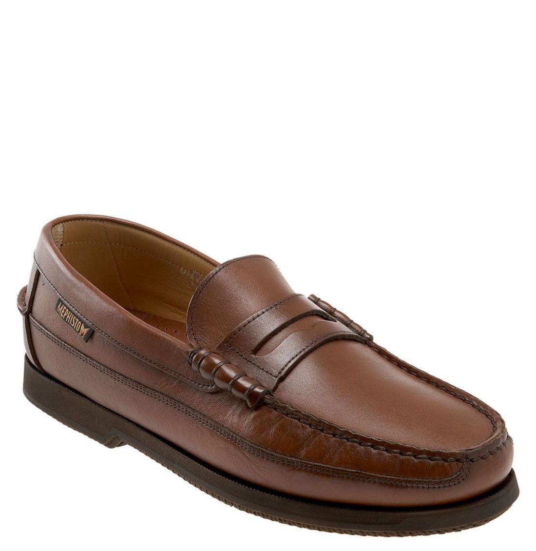 'Cap Vert' Penny Loafer,                             Main thumbnail 1, color,                             Rust Leather