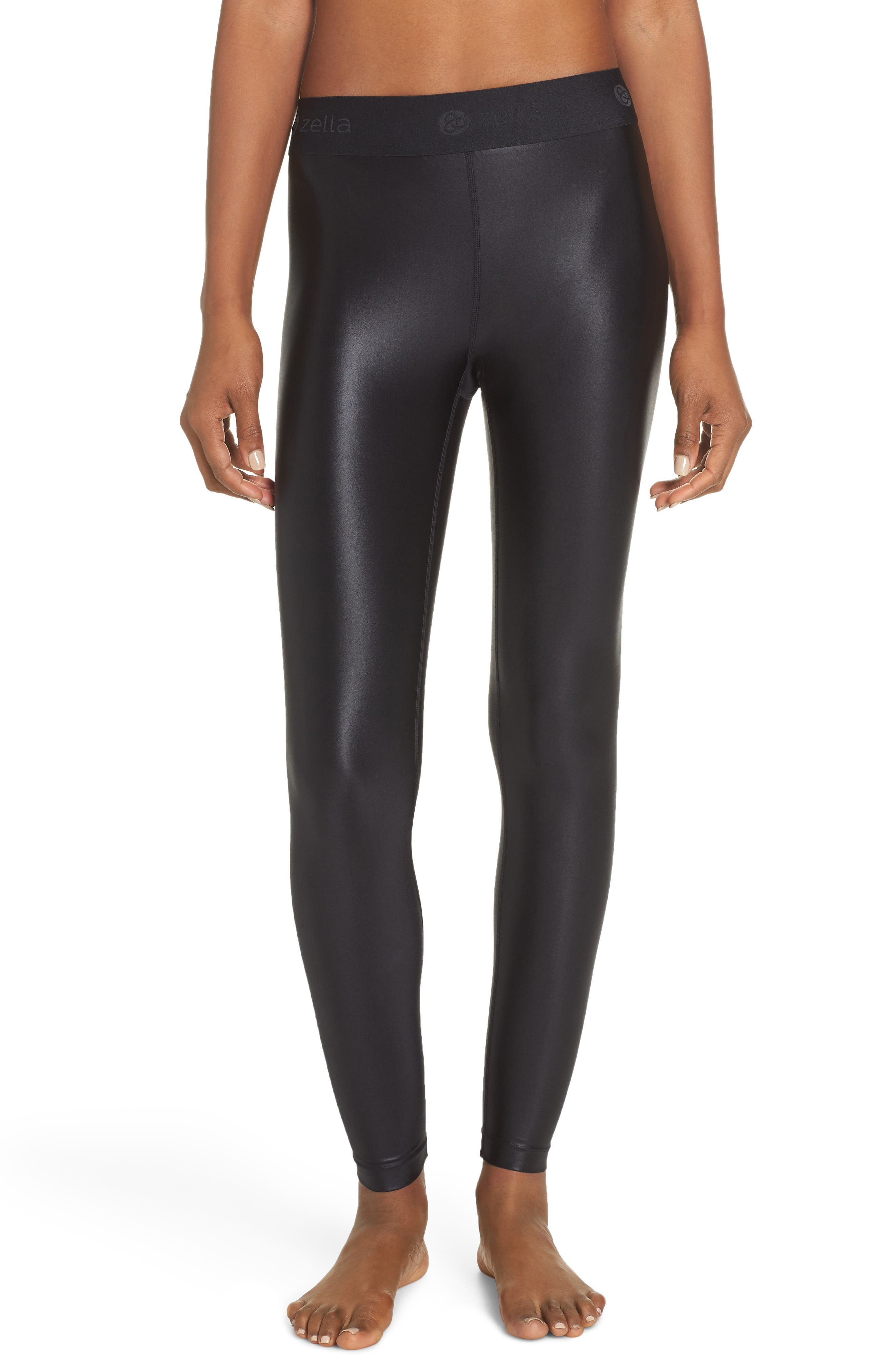 Anya Shine High Waist Ankle Leggings,                         Main,                         color, BLACK
