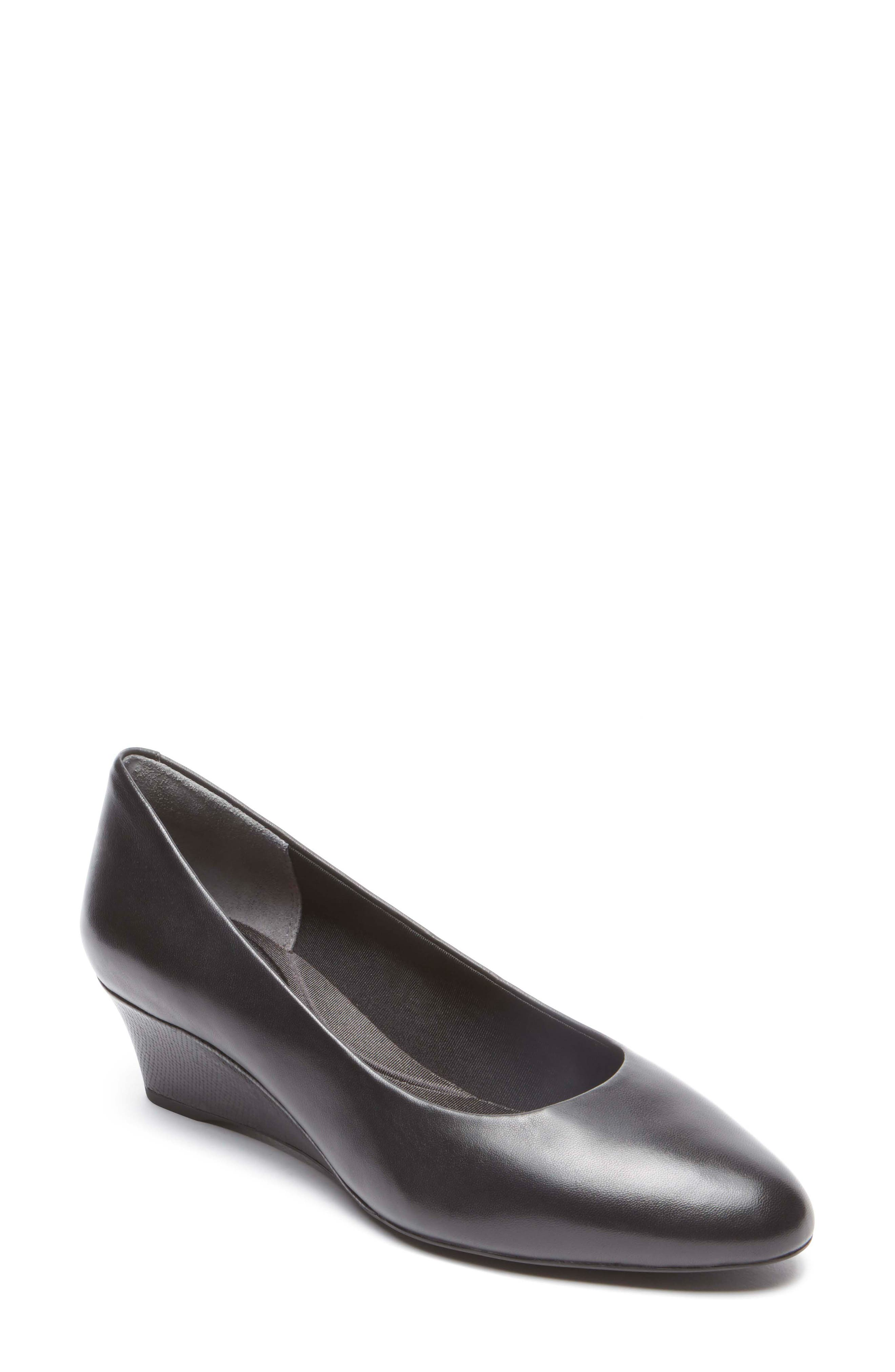 Total Motion Catrin Wedge Pump,                             Main thumbnail 1, color,                             BLACK LEATHER