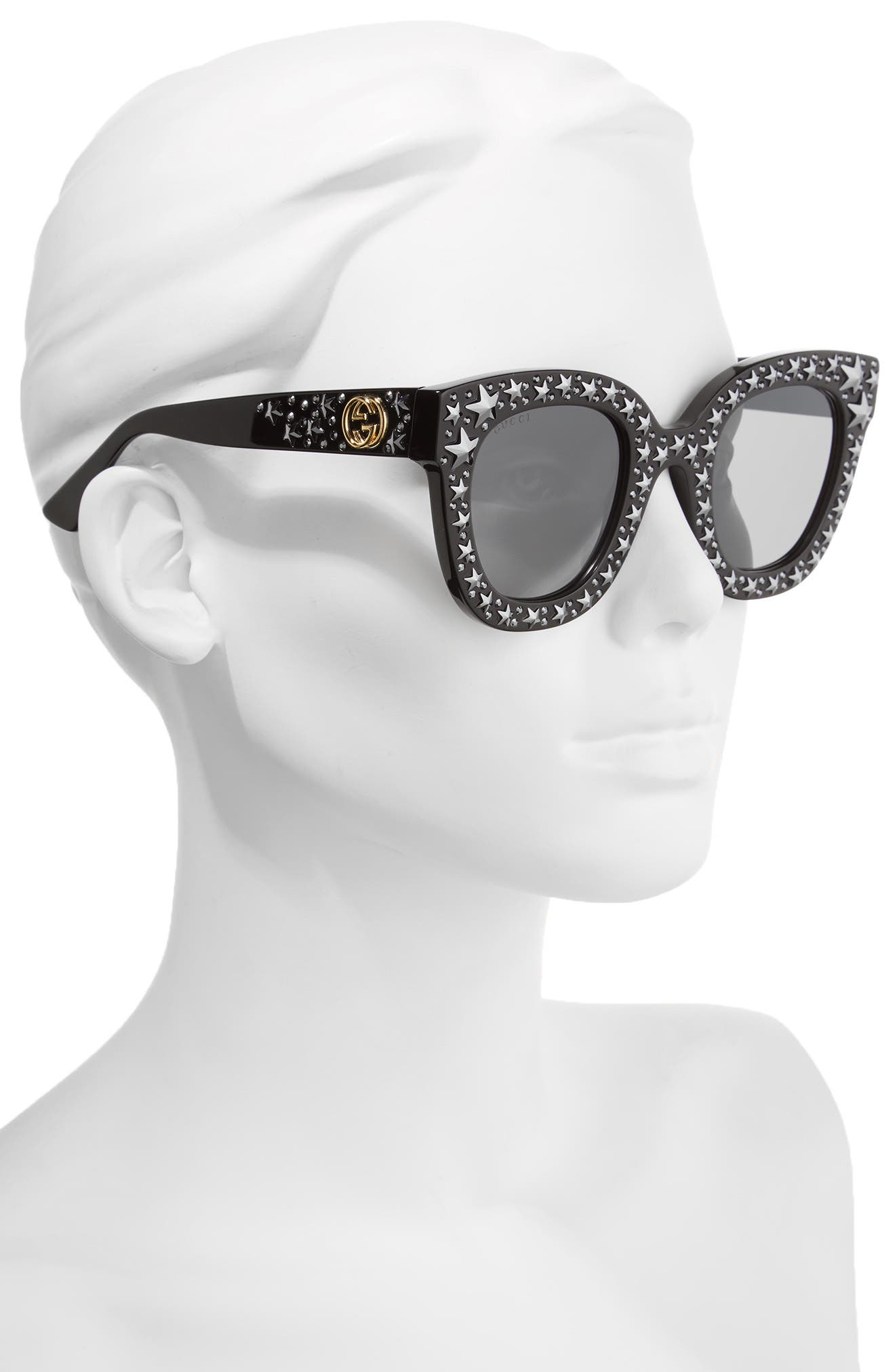 49mm Swarovski Crystal Embellished Square Sunglasses,                             Alternate thumbnail 2, color,                             001
