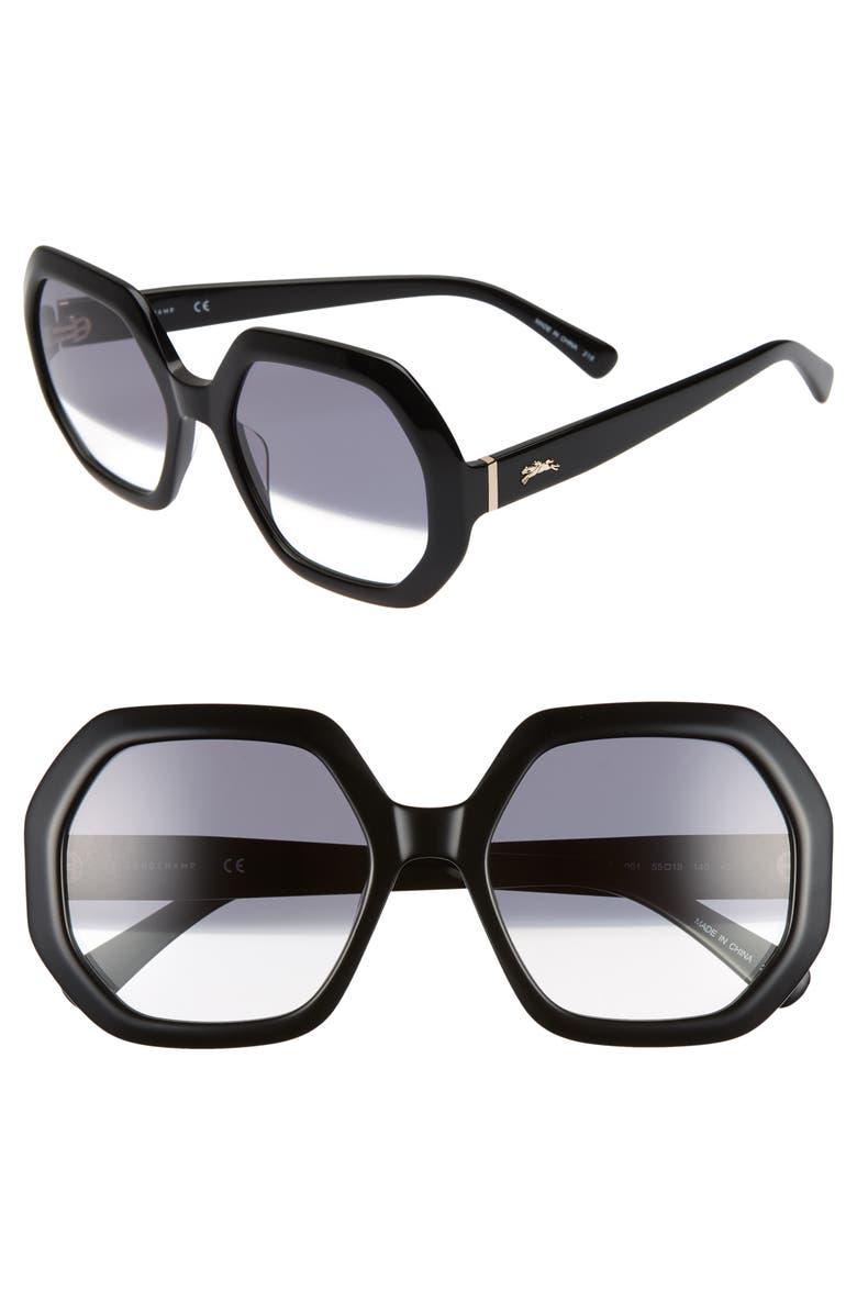 7abdfaf3c7 Longchamp Heritage 55mm Gradient Lens Geometric Sunglasses