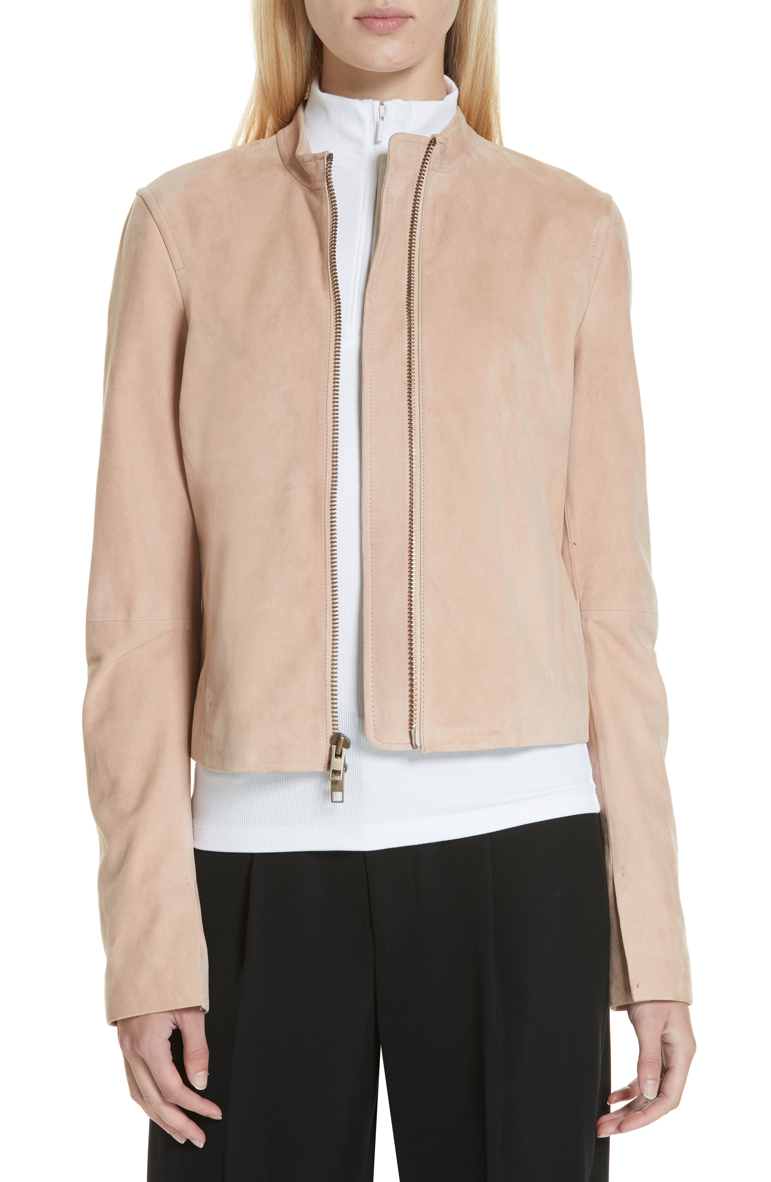 Cropped Zip-Front Suede Moto Jacket in Rose Quartz