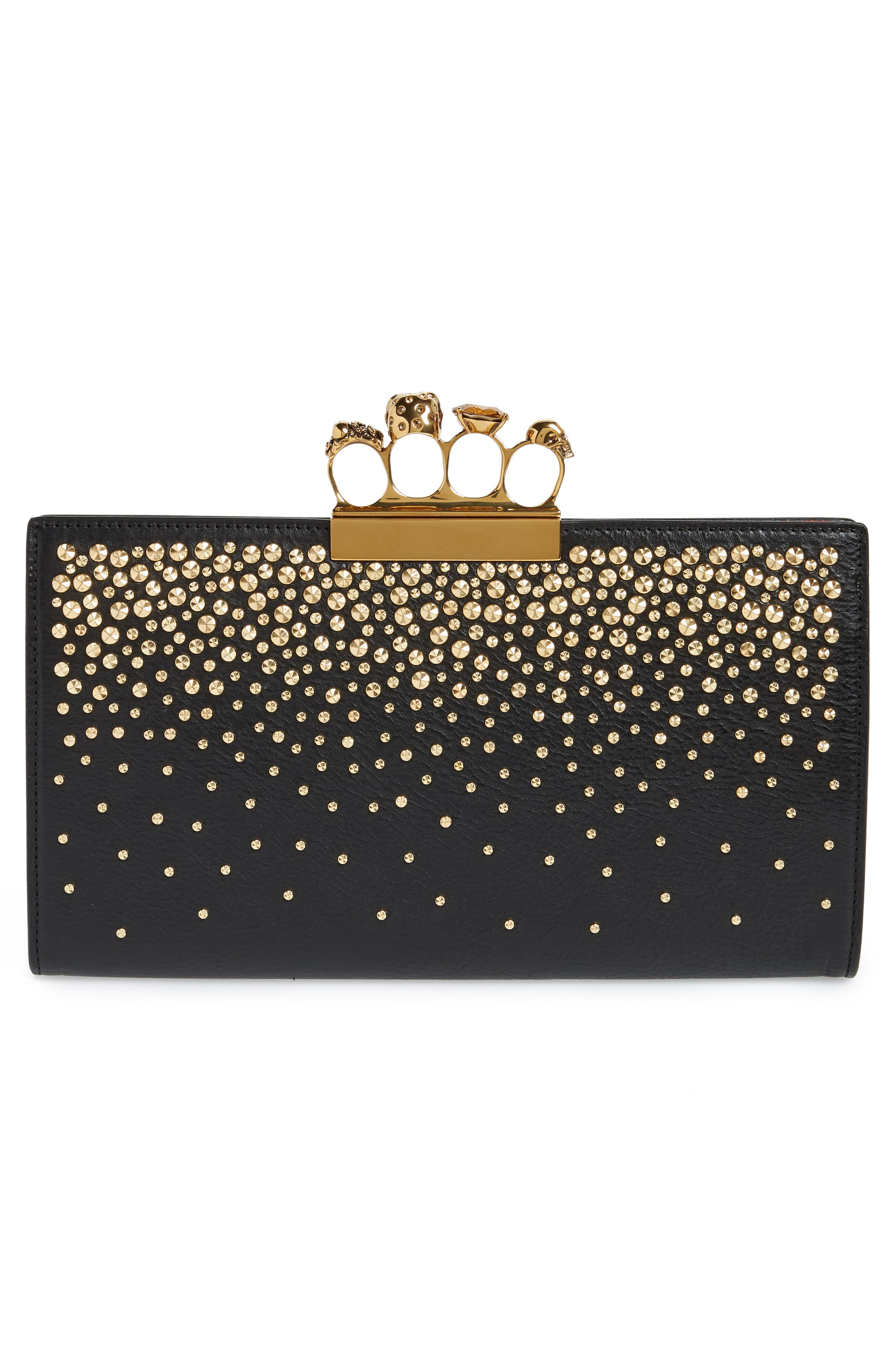 Knuckle Crystal Flat Pouch,                             Alternate thumbnail 3, color,                             BLACK
