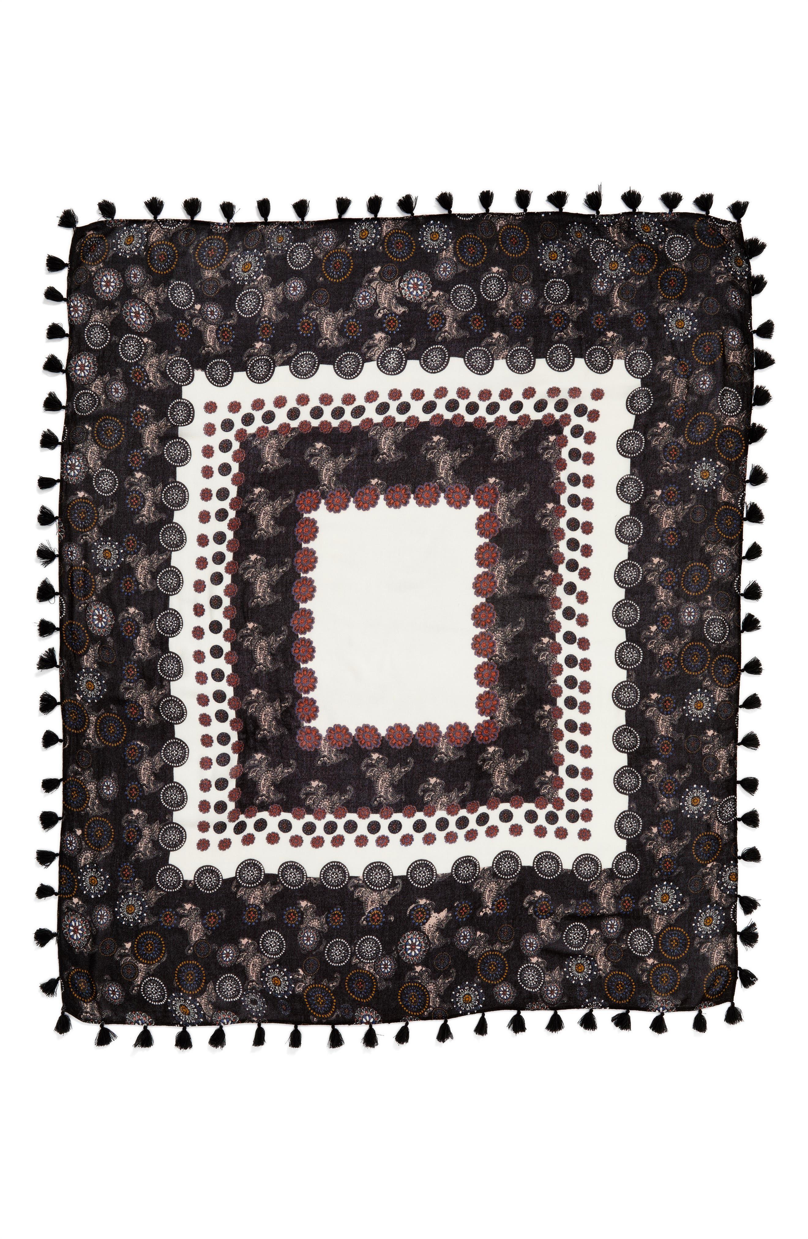 Retro Medallion Tassel Scarf,                             Alternate thumbnail 3, color,                             001