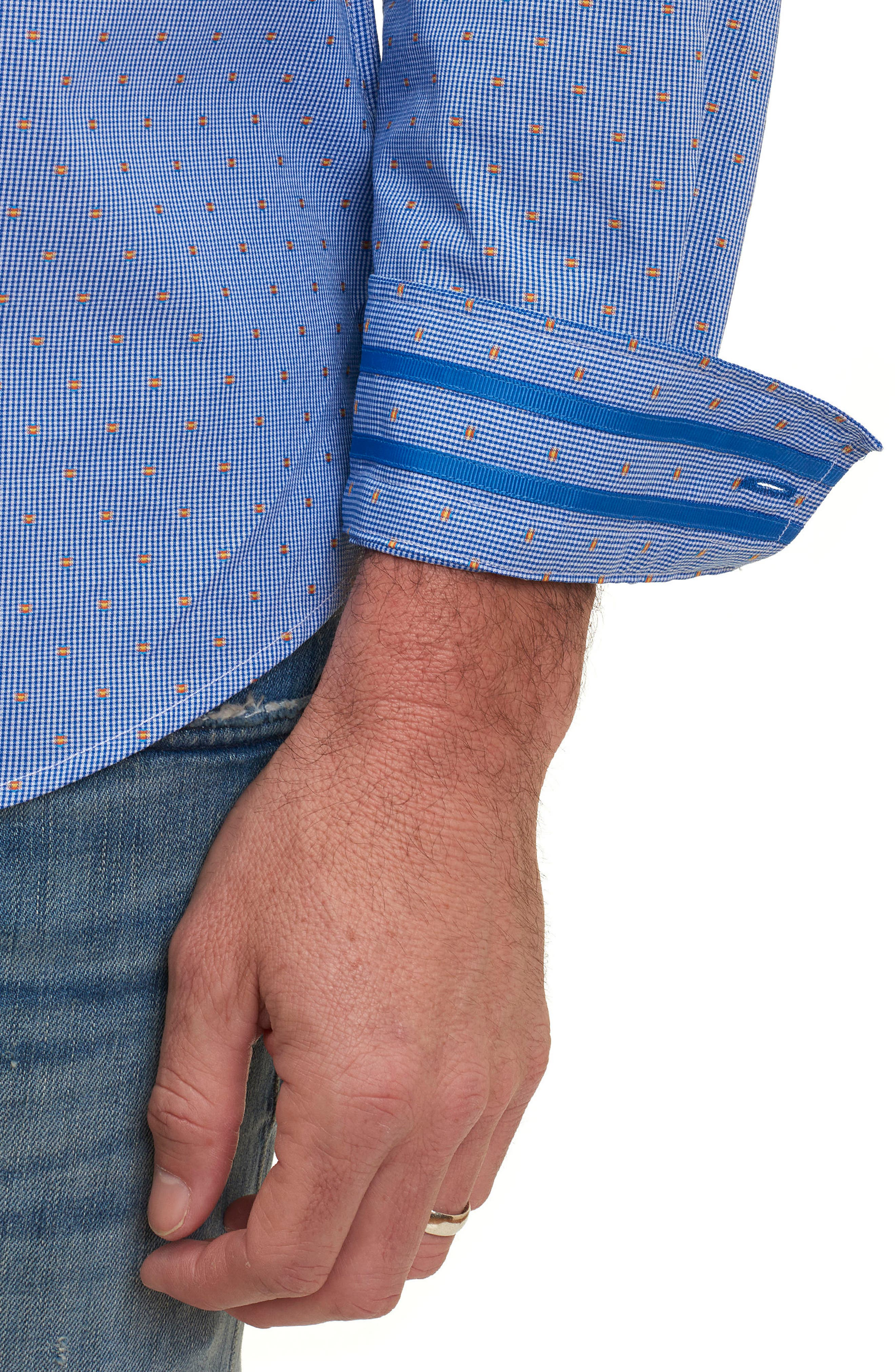 Tailored Fit Houndstooth Sport Shirt,                             Alternate thumbnail 8, color,