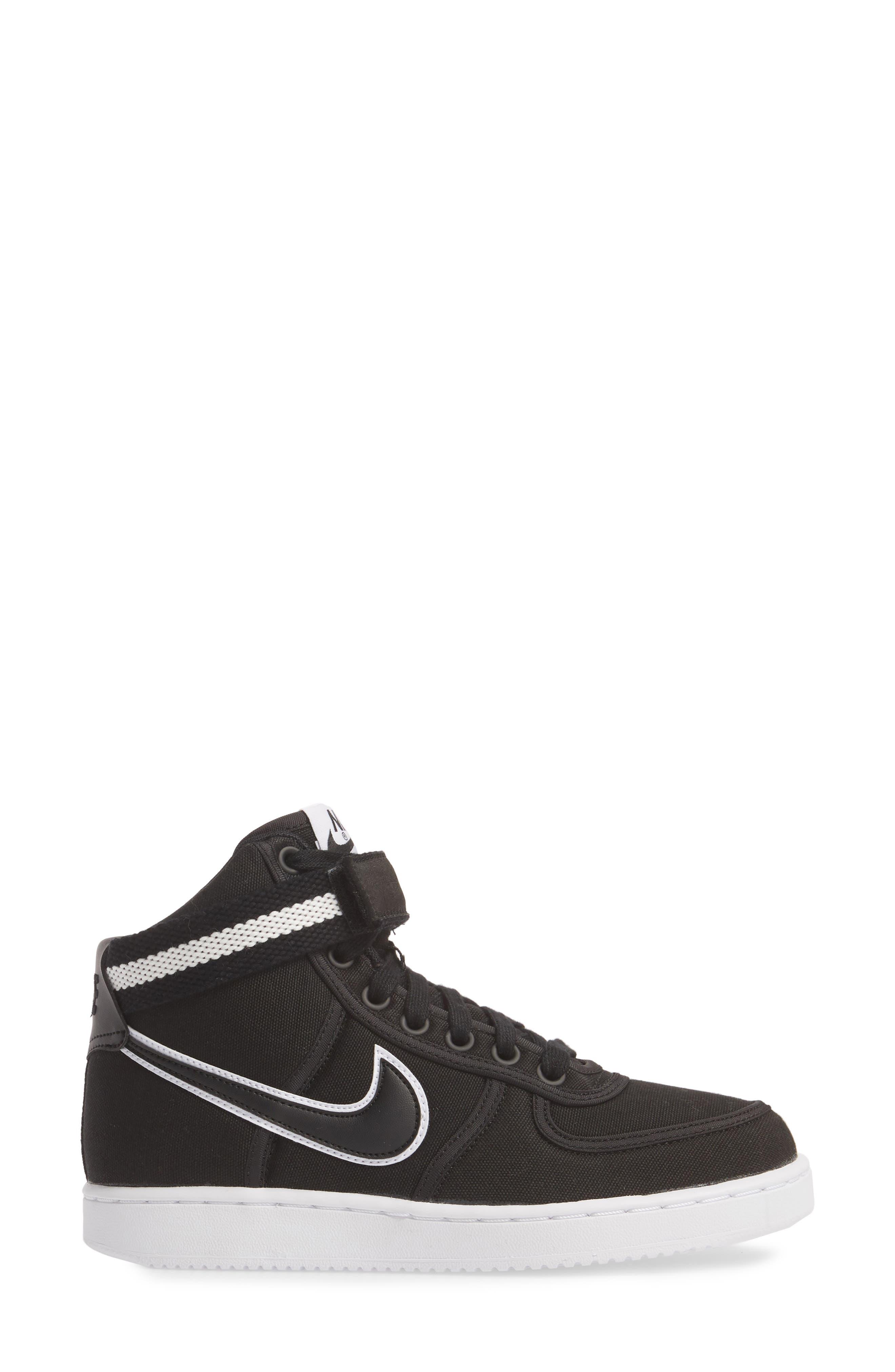 Vandal High Top Sneaker,                             Alternate thumbnail 3, color,                             BLACK/ BLACK-WHITE