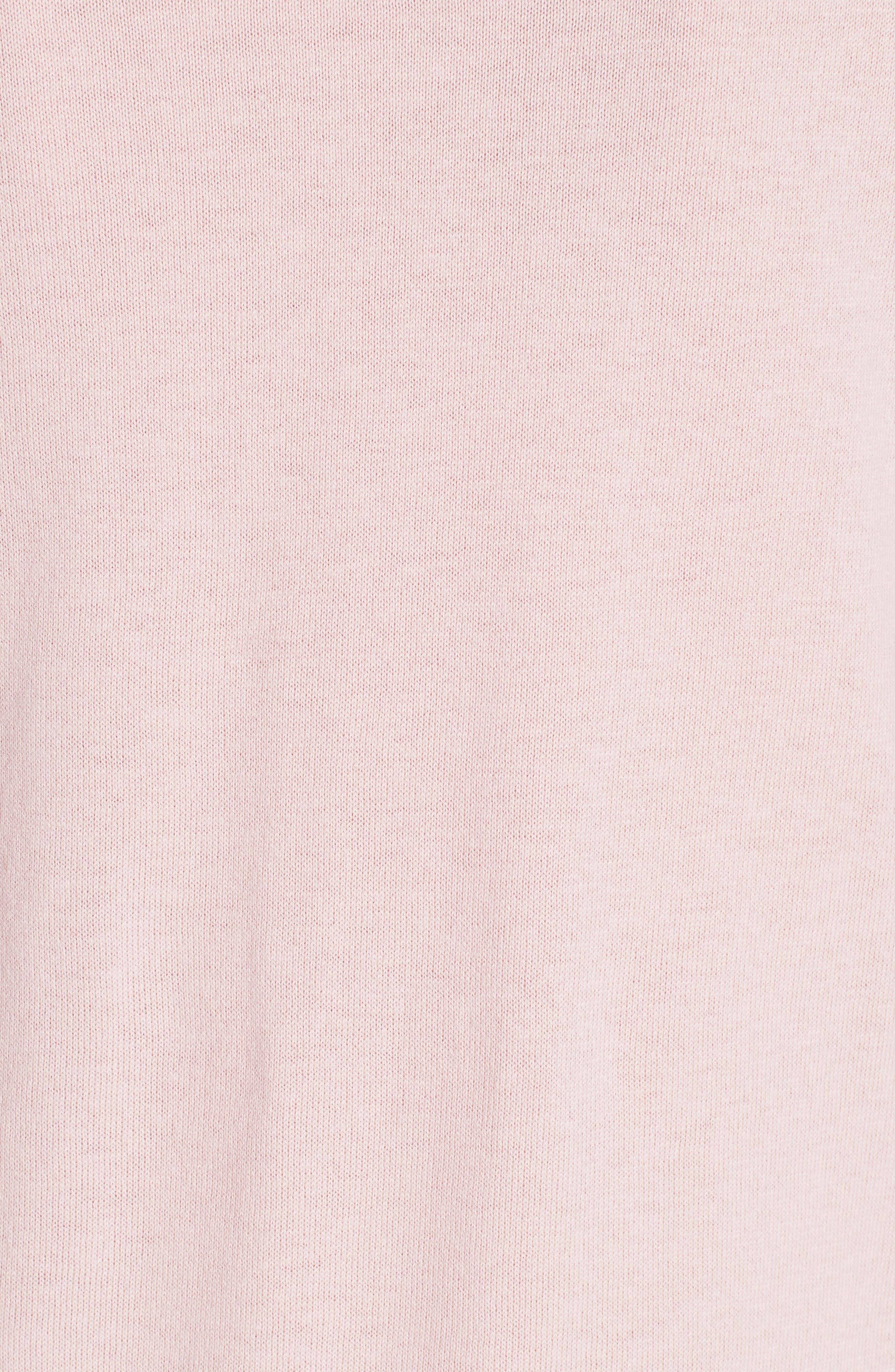 Nansea Floral Collar Tiered Hem Sweater,                             Alternate thumbnail 5, color,                             PINK