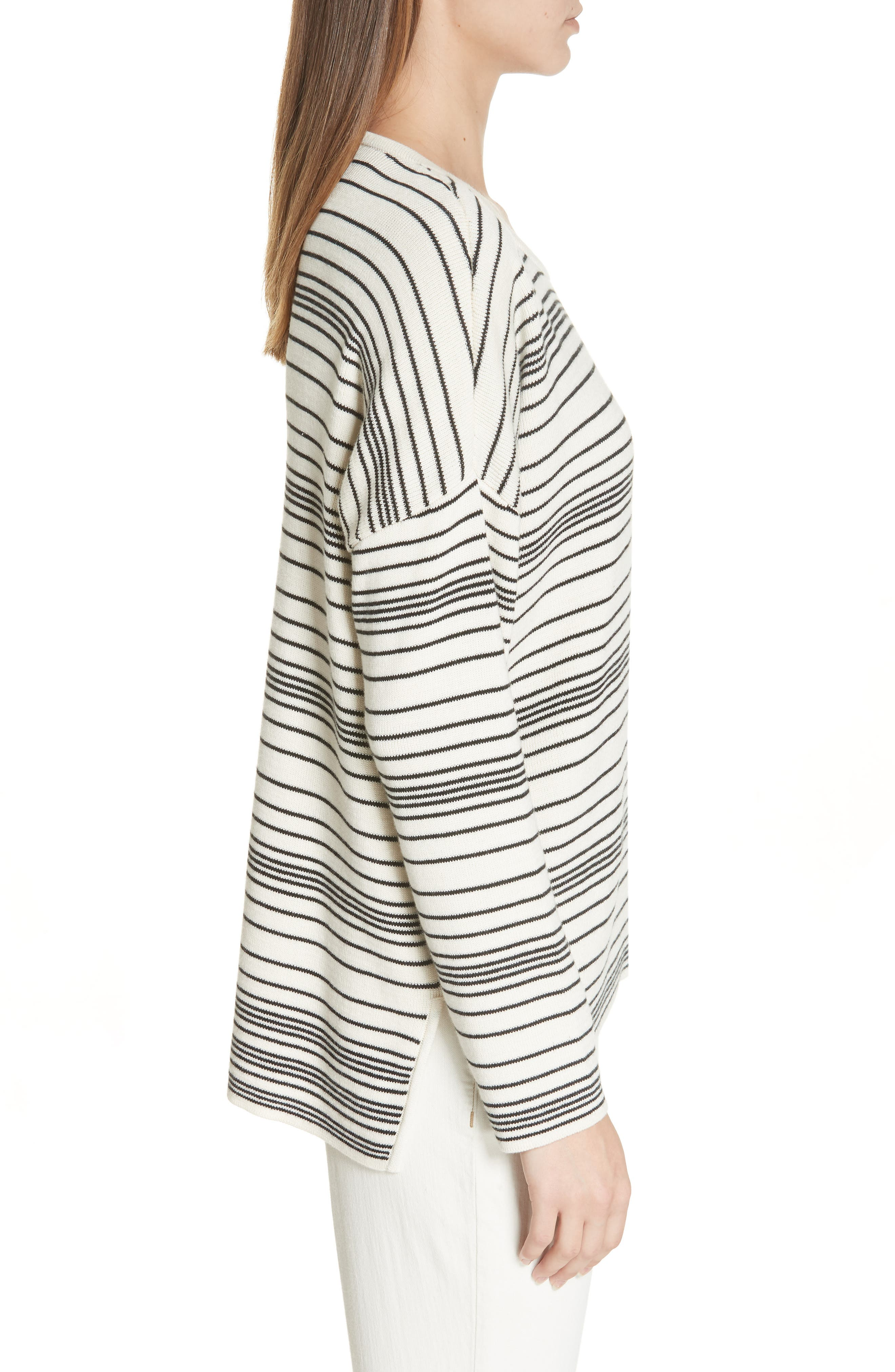 Stripe Organic Cotton Sweater,                             Alternate thumbnail 3, color,                             SOFT WHITE/ BLACK