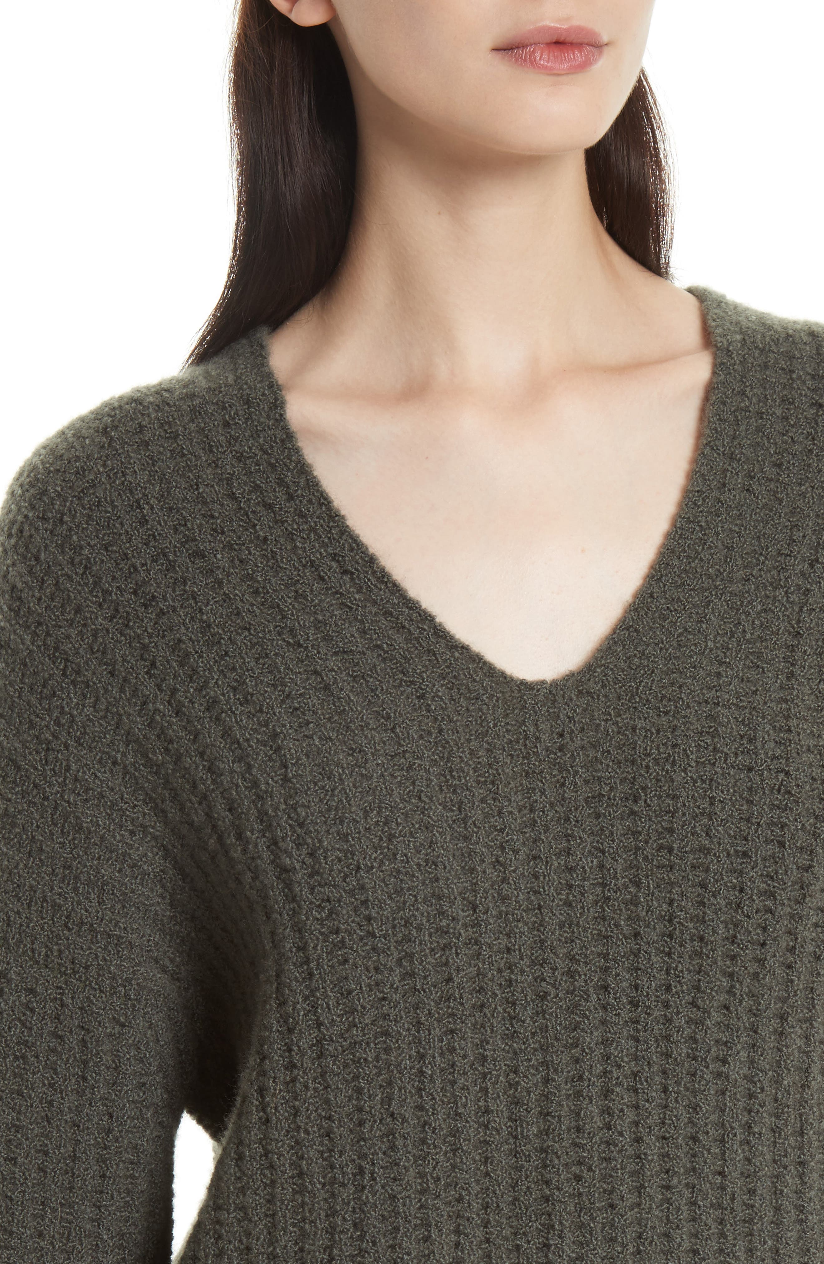 Deep V-Neck Cashmere Blend Sweater,                             Alternate thumbnail 11, color,
