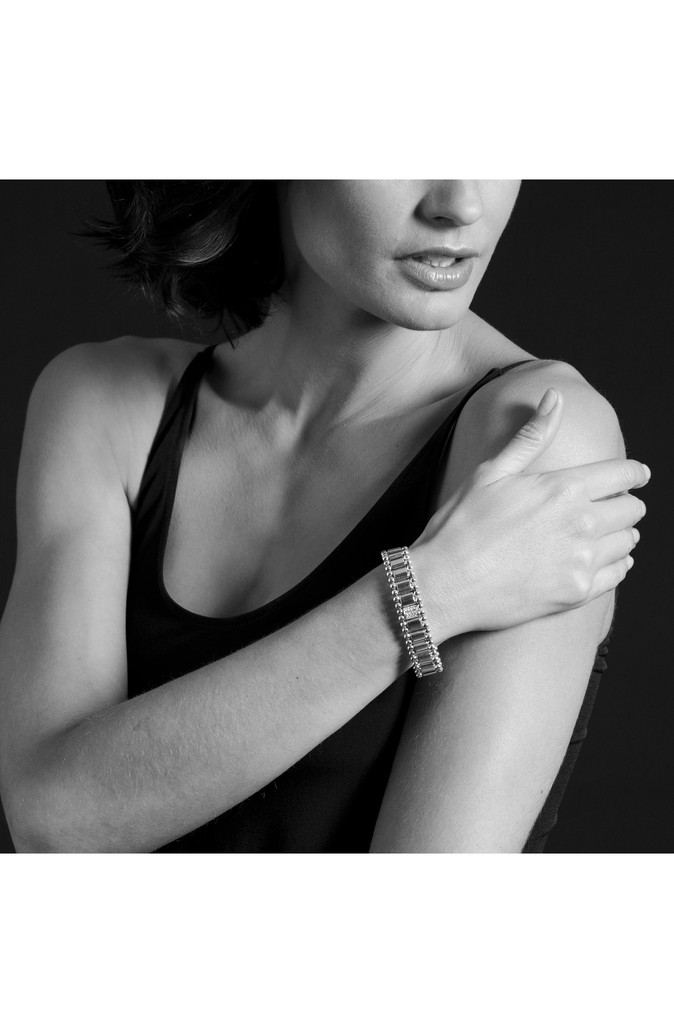 Caviar Spark Pavé Diamond Link Bracelet,                             Alternate thumbnail 3, color,                             SILVER/ DIAMOND
