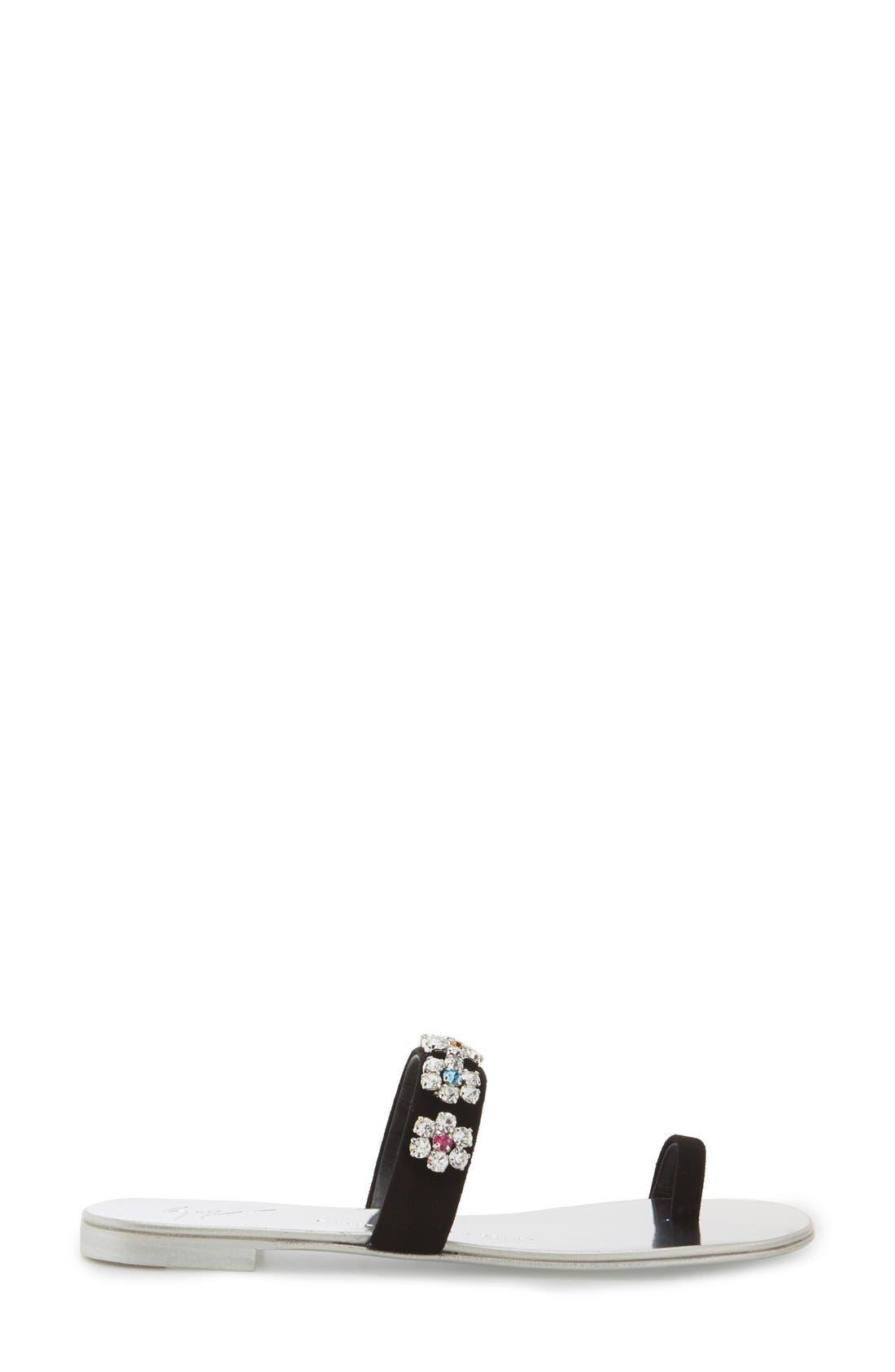 Crystal Embellished Flat Sandal,                             Alternate thumbnail 4, color,                             001