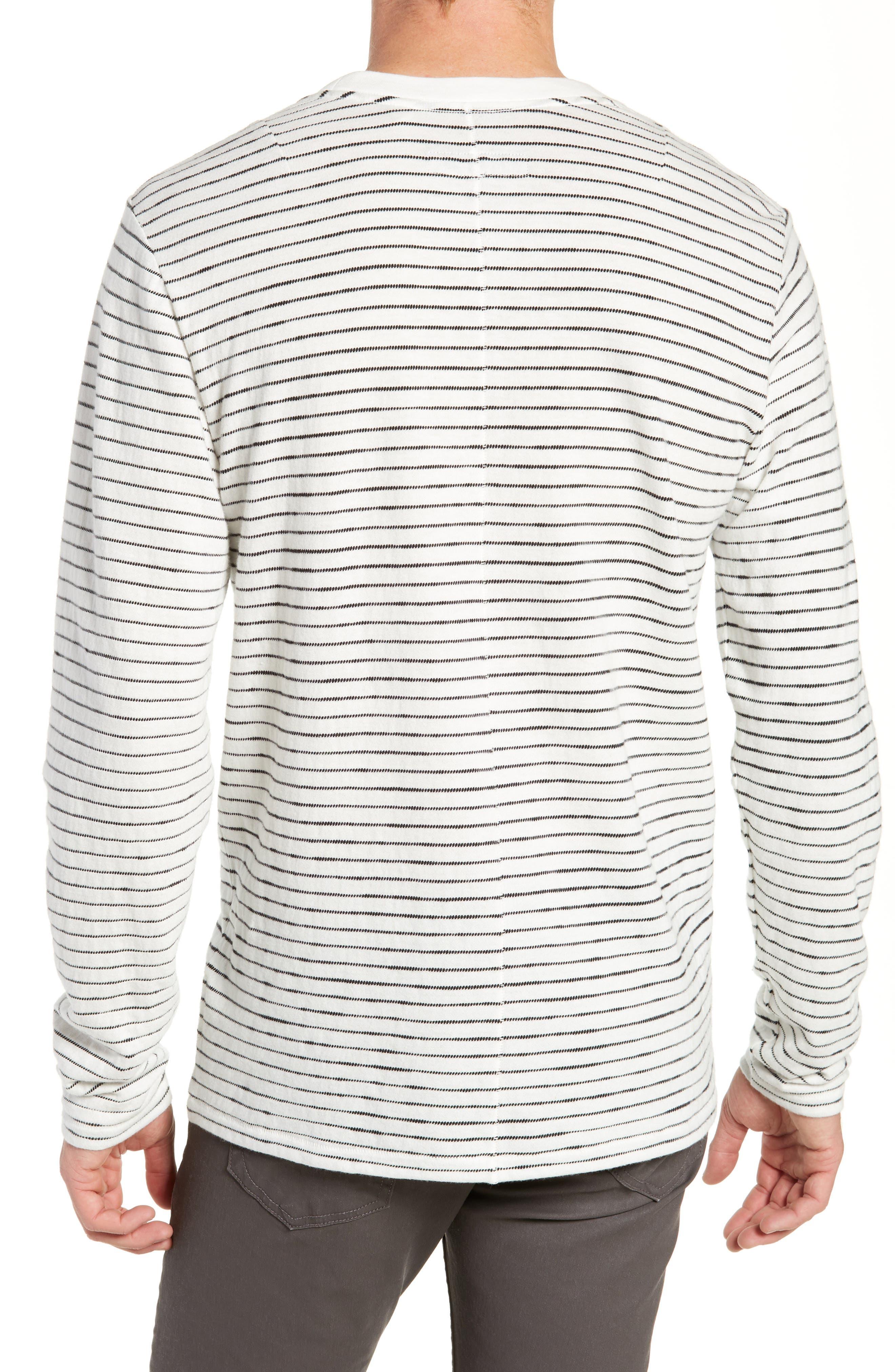 Railroad Stripe Long Sleeve T-Shirt,                             Alternate thumbnail 2, color,                             IVORY/ BLACK