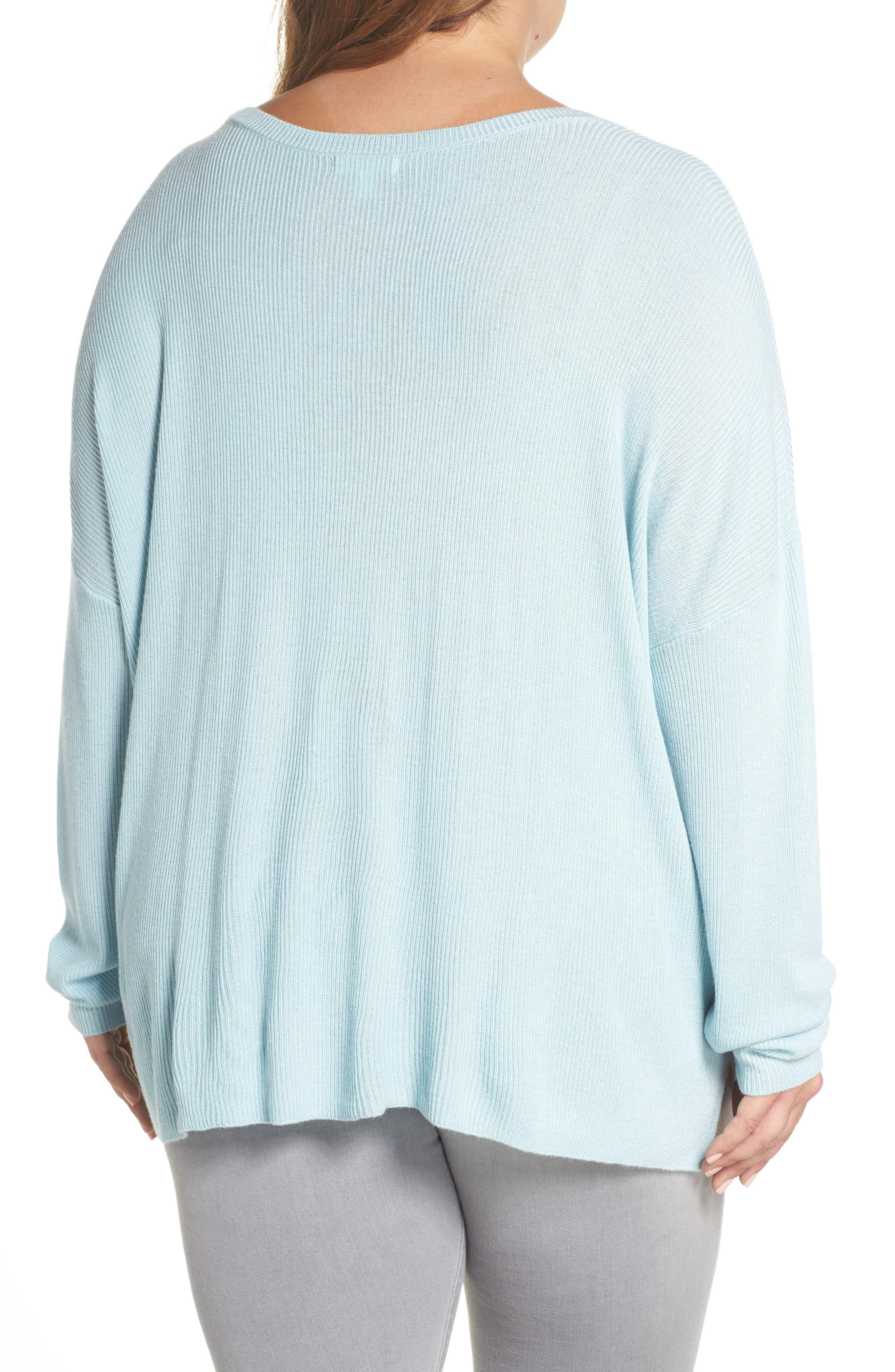 Drop Shoulder Ribbed Sweater,                             Alternate thumbnail 2, color,                             BLUE STERLING