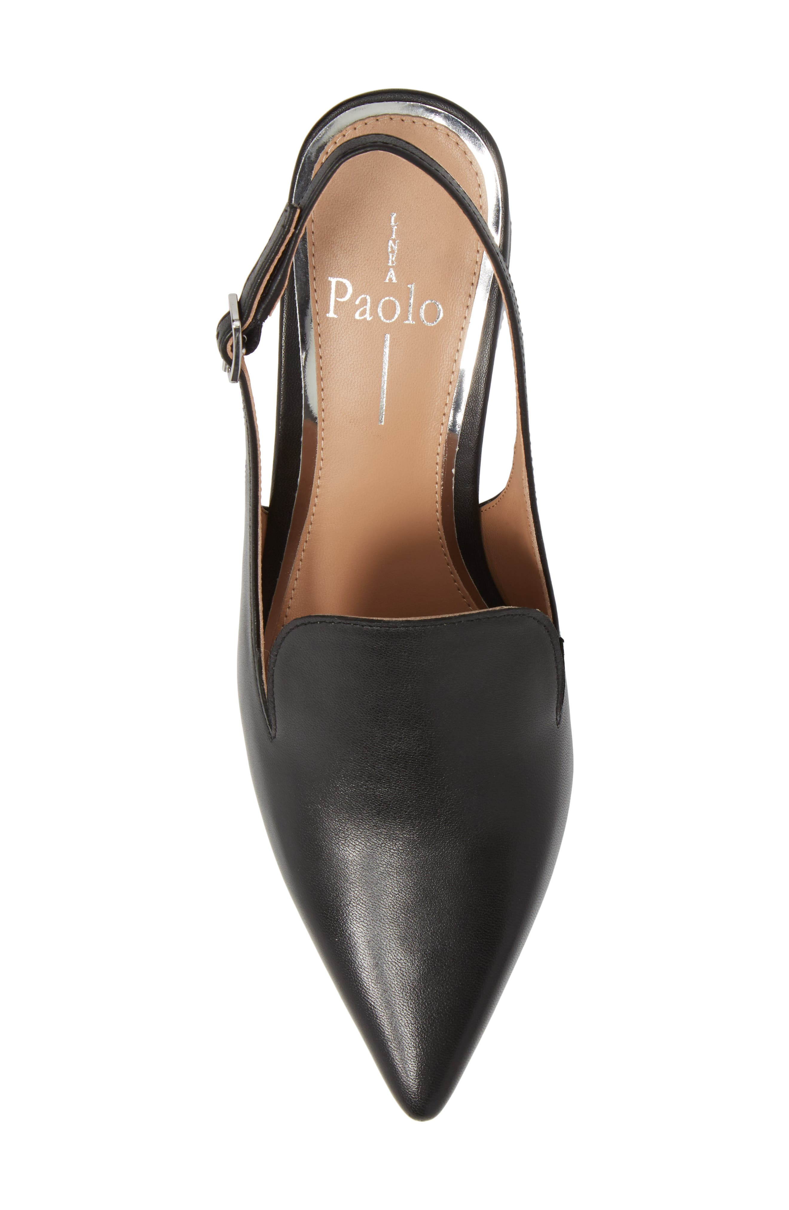 Carly Slingback Pump,                             Alternate thumbnail 5, color,                             BLACK LEATHER