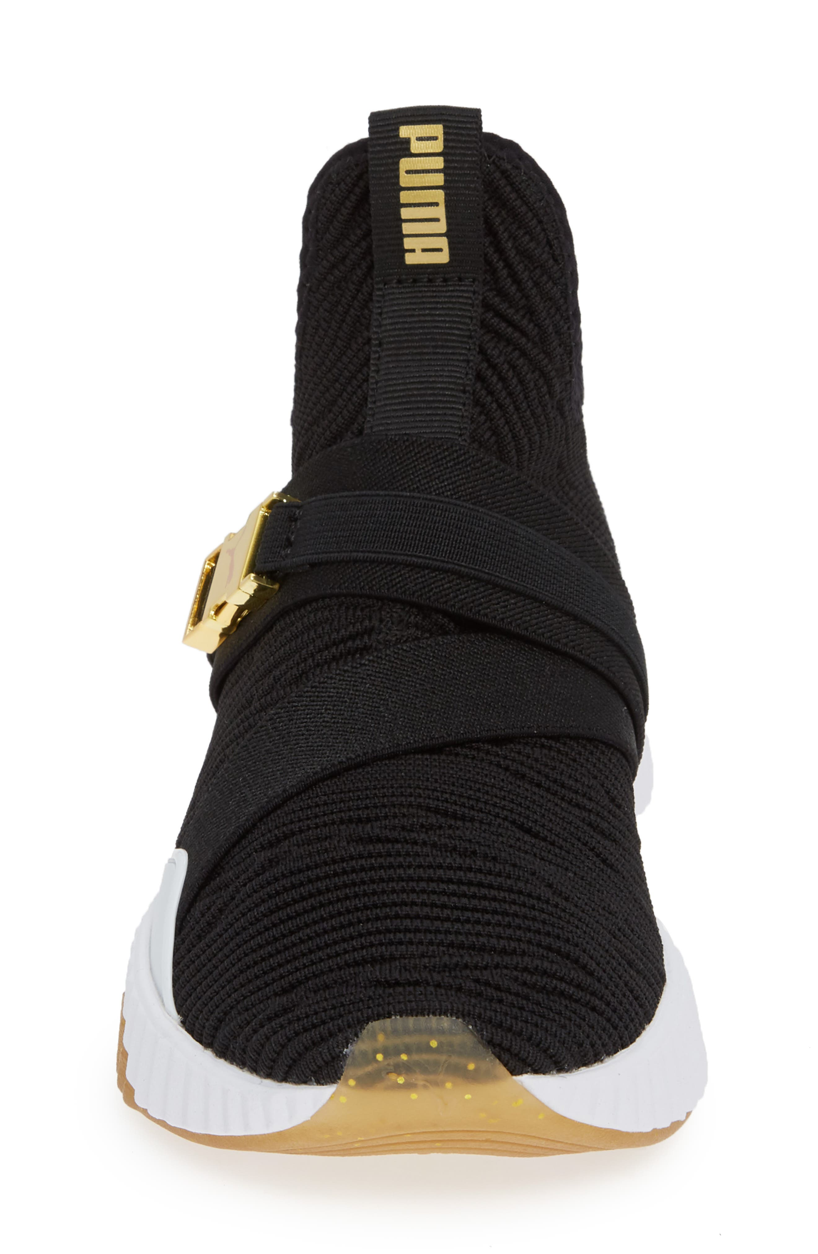 Defy Mid Varsity Sneaker,                             Alternate thumbnail 4, color,                             BLACK/ METALLIC GOLD