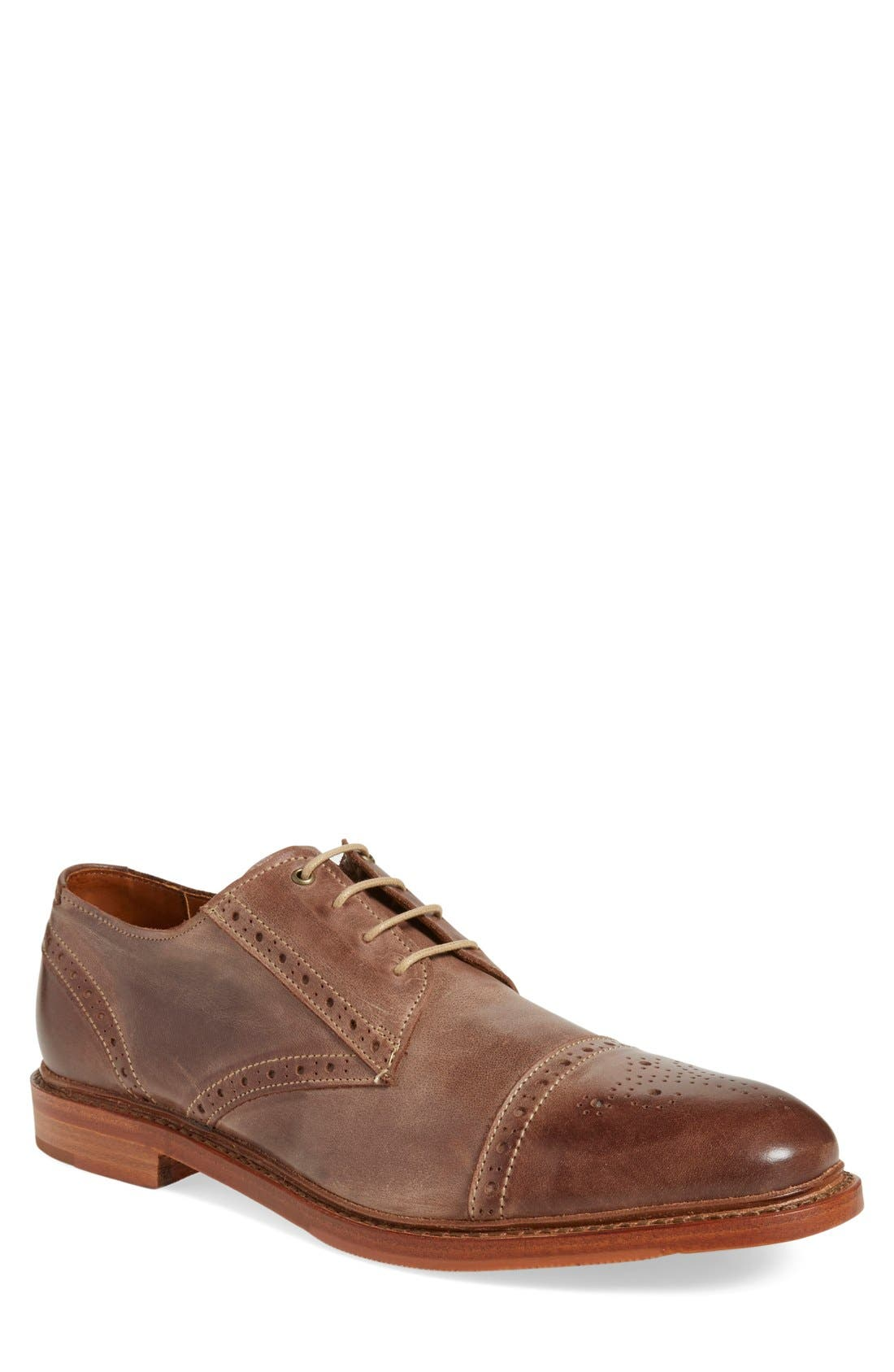 'Bainbridge' Cap Toe Derby,                             Main thumbnail 1, color,                             BROWN LEATHER