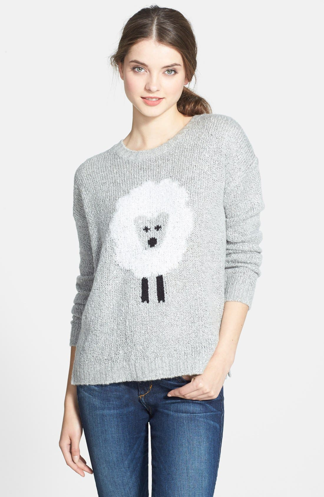 'Sheep' Fuzzy Knit Sweater, Main, color, 073
