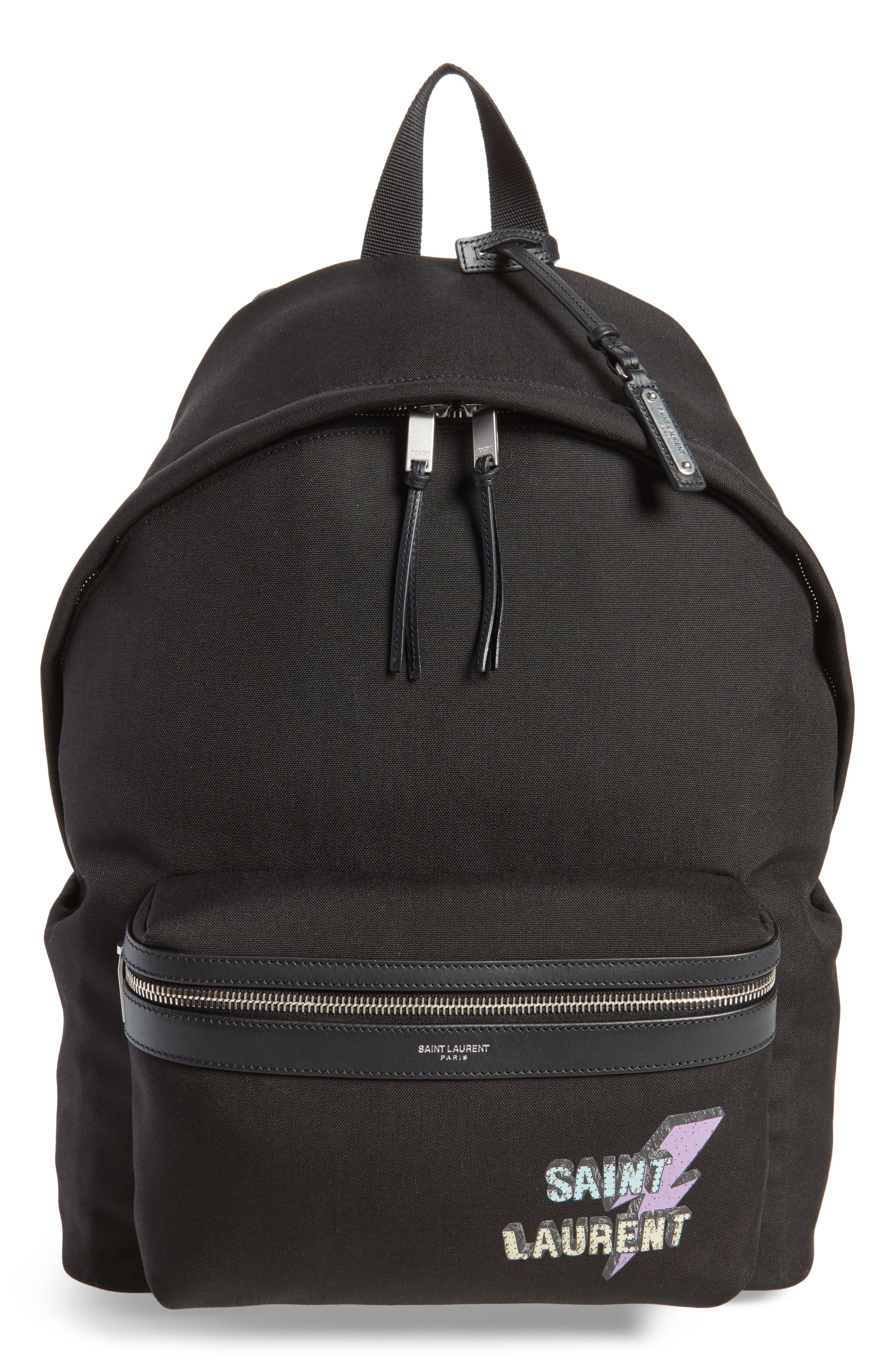 Lightning Logo City Backpack,                         Main,                         color, BLACK MULTI
