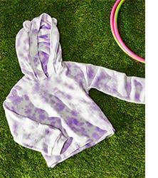 A tie-dye sweatshirt for girls.
