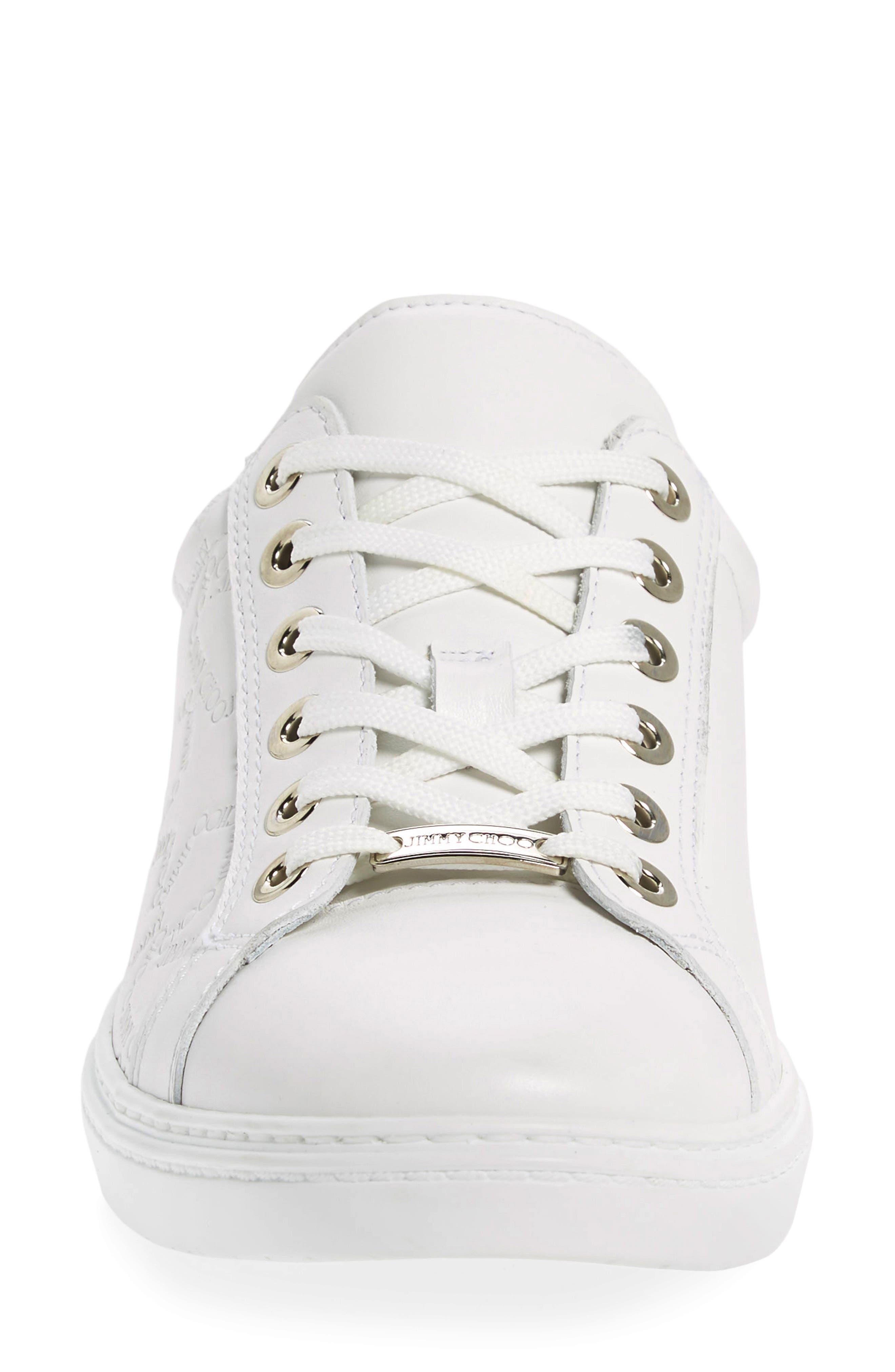 JIMMY CHOO,                             Cash Star Sneaker,                             Alternate thumbnail 4, color,                             WHITE
