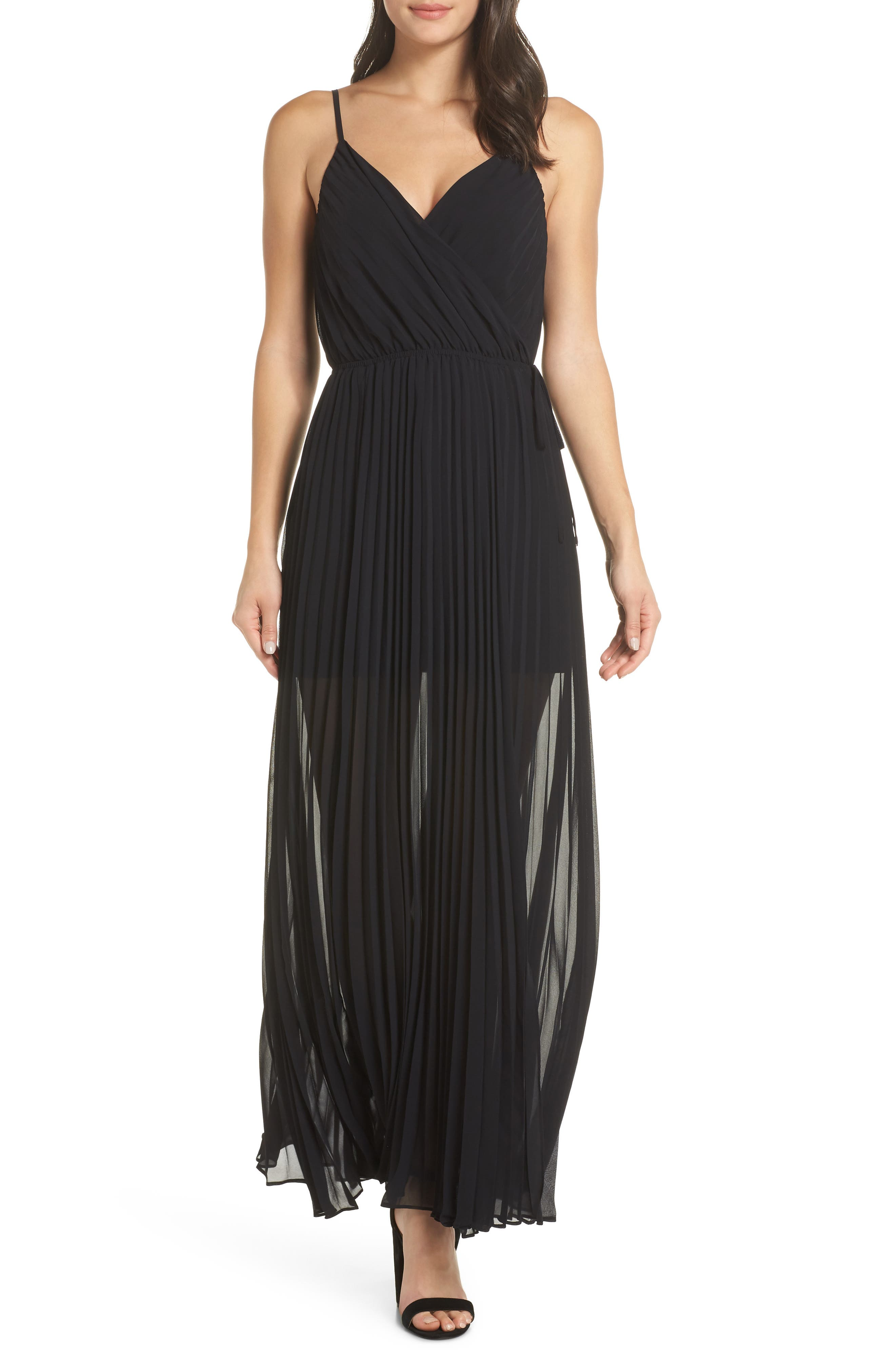 ALI & JAY Roses Are Red Pleated Maxi Dress in Black