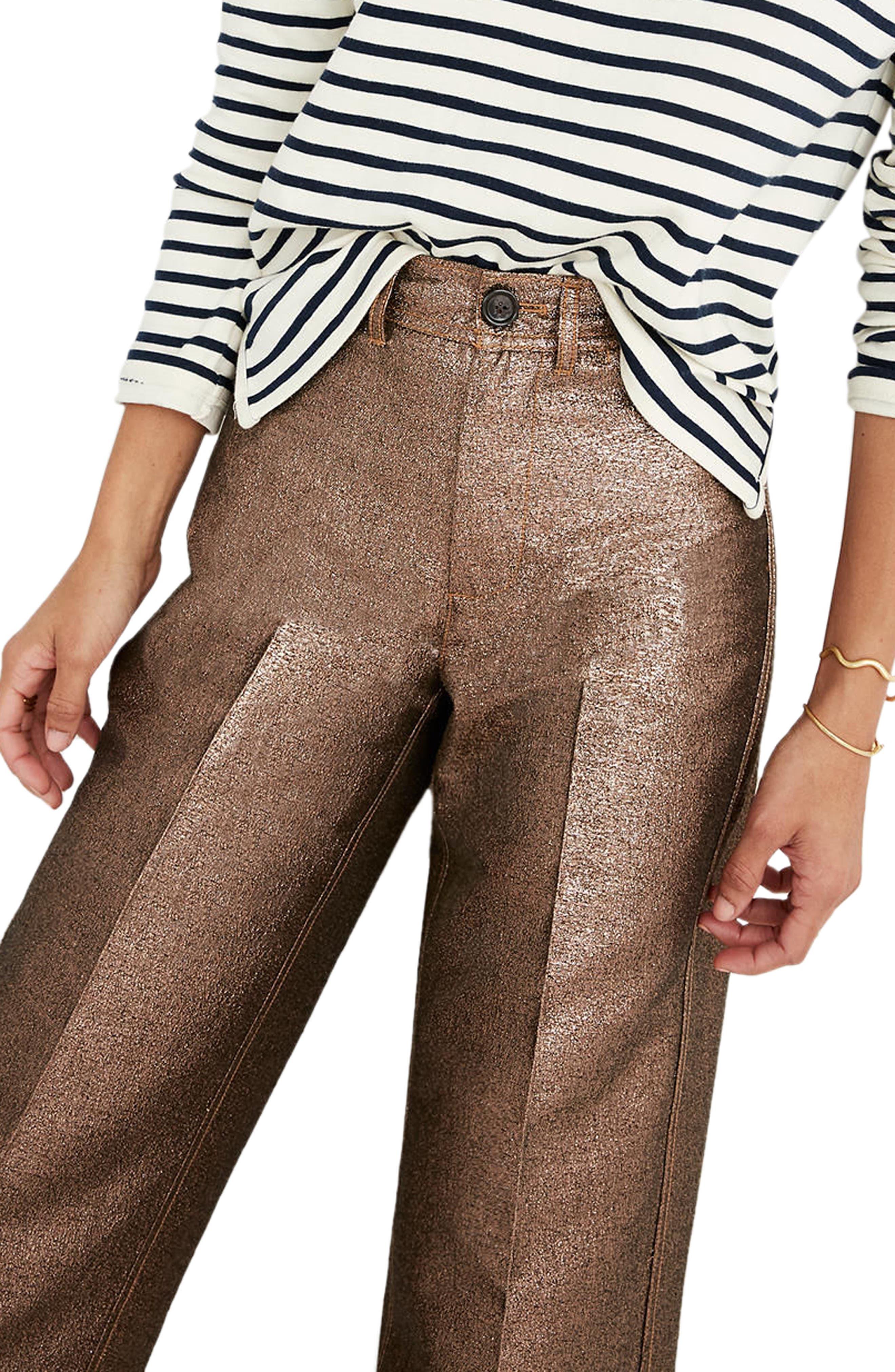 Langford Metallic Crop Wide Leg Pants,                             Alternate thumbnail 3, color,                             220