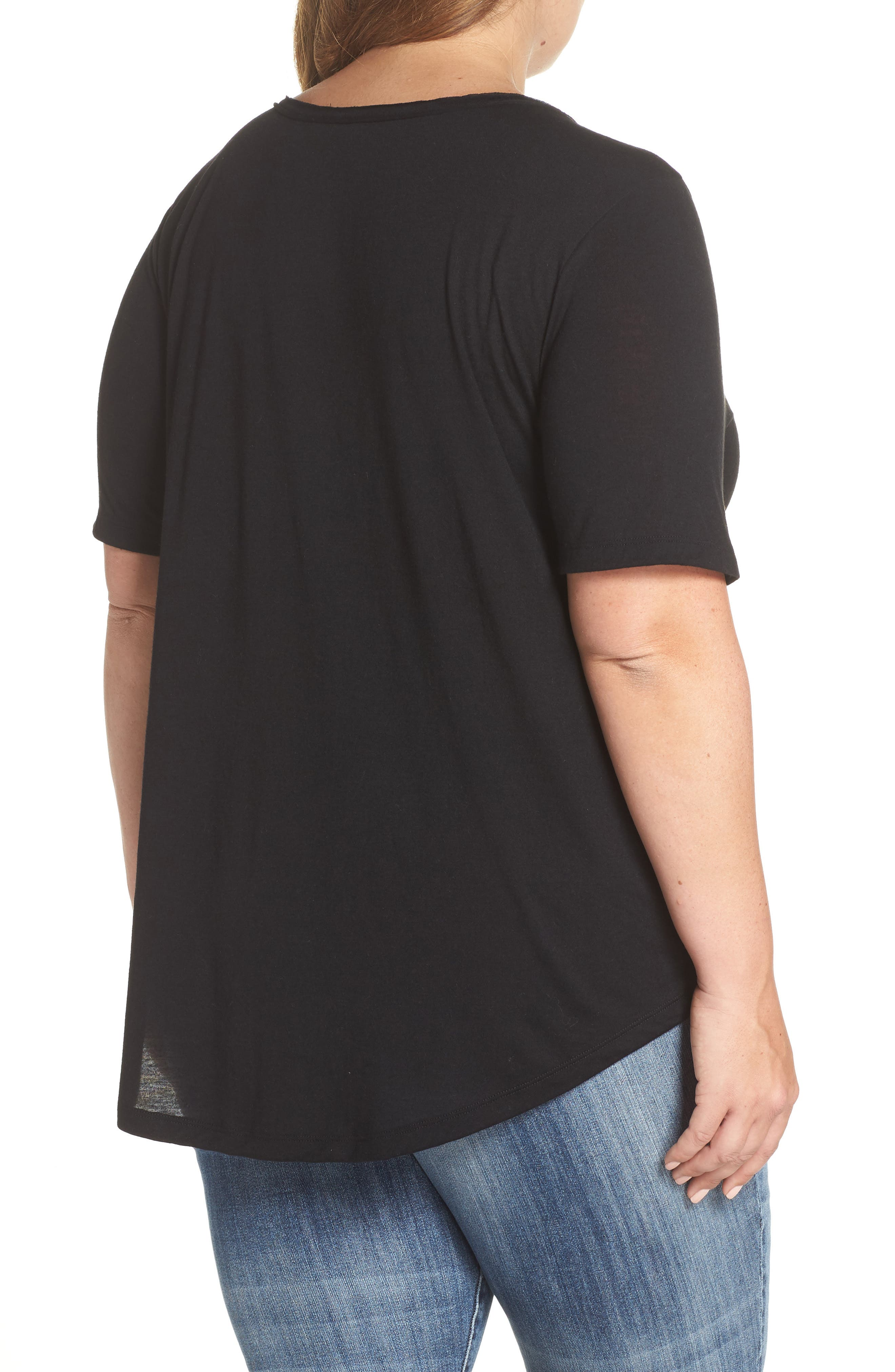 Raw Edge V-Neck Tee,                             Alternate thumbnail 2, color,                             BLACK