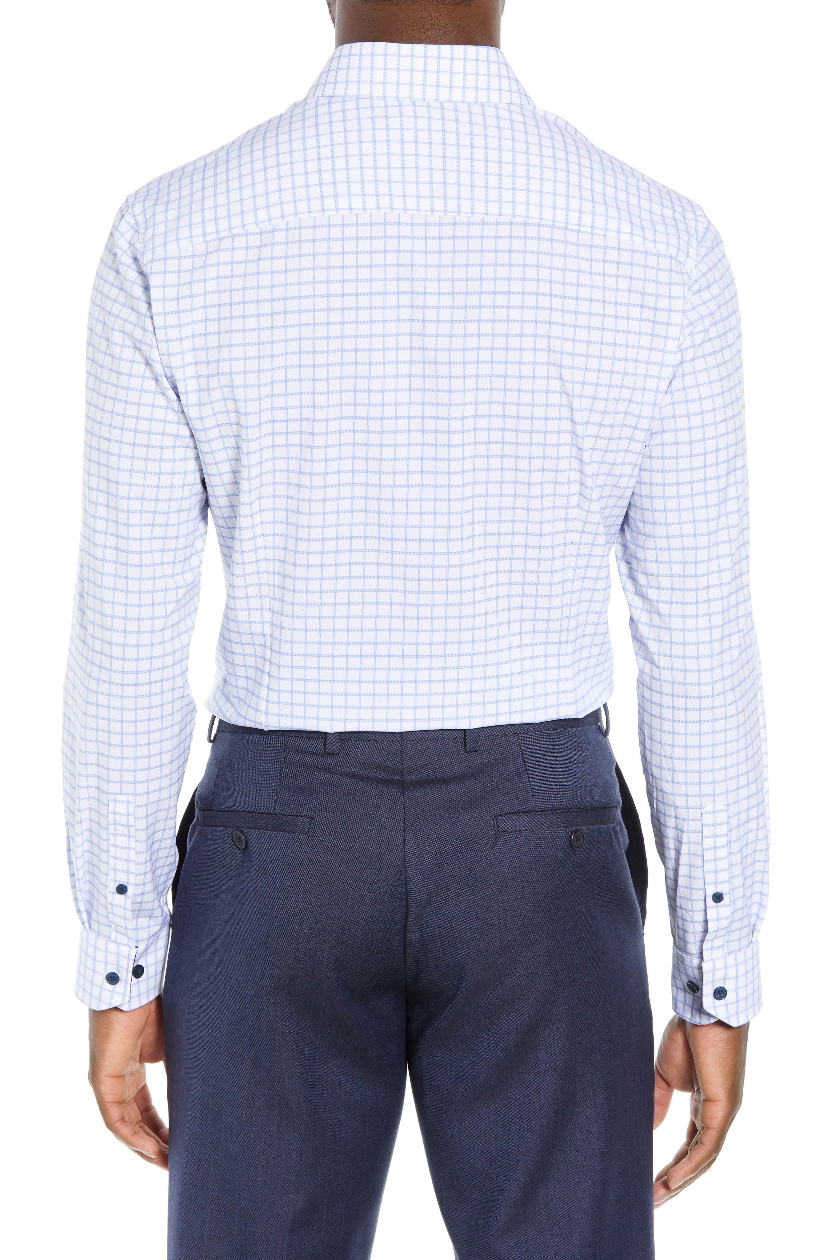 Trim Fit 4-Way Stretch Check Dress Shirt,                             Alternate thumbnail 3, color,                             WHITE