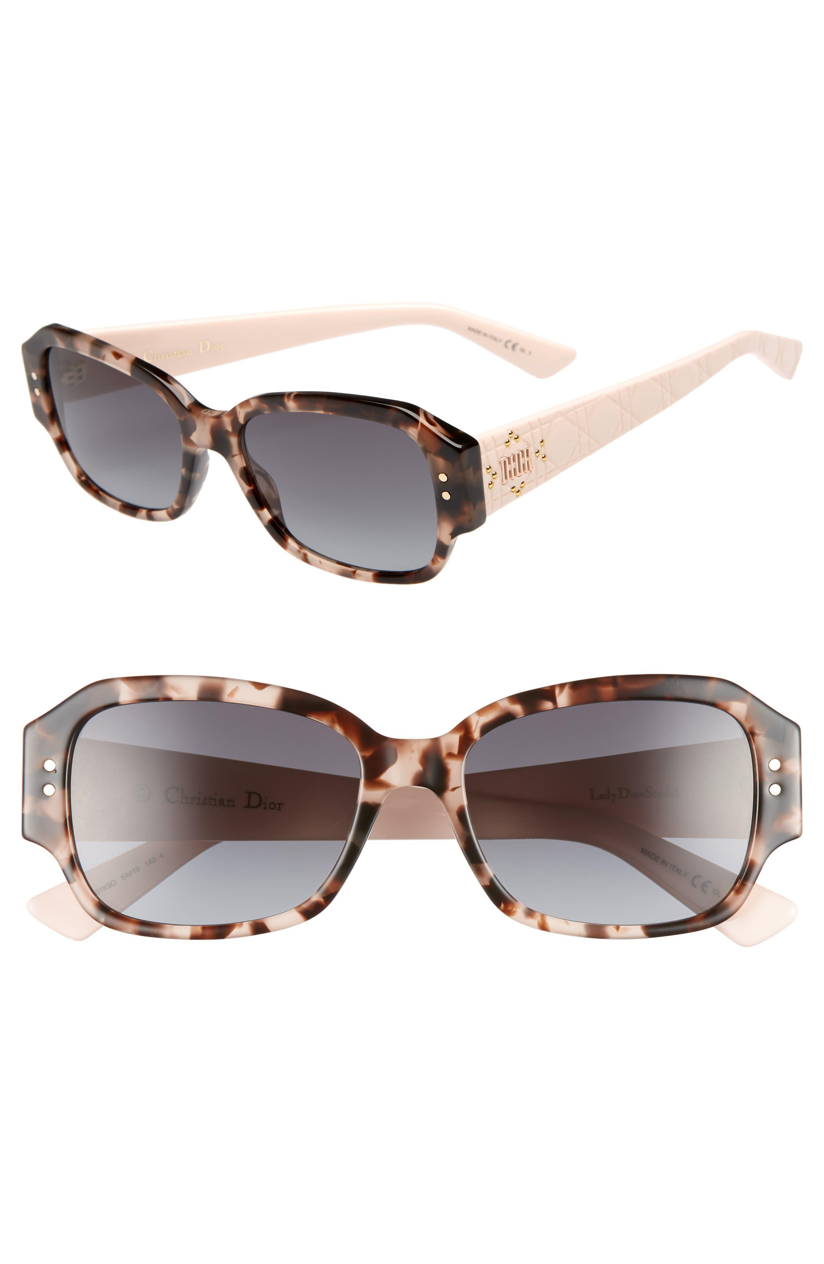 Ladydiorstuds5 54mm Sunglasses, Main, color, HAVANA LIGHT PINK