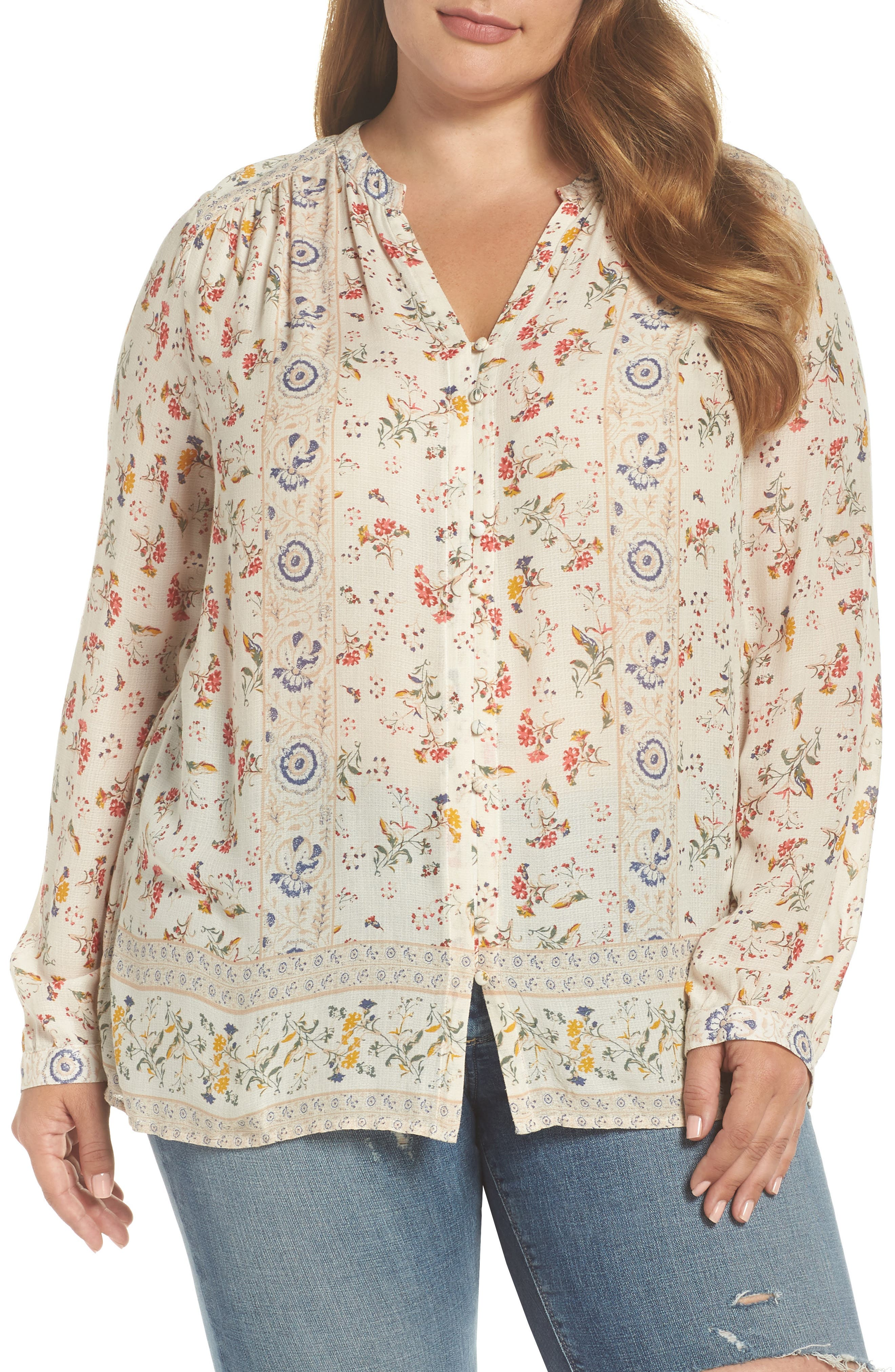 Printed Peasant Top,                             Main thumbnail 1, color,                             NATURAL MULTI