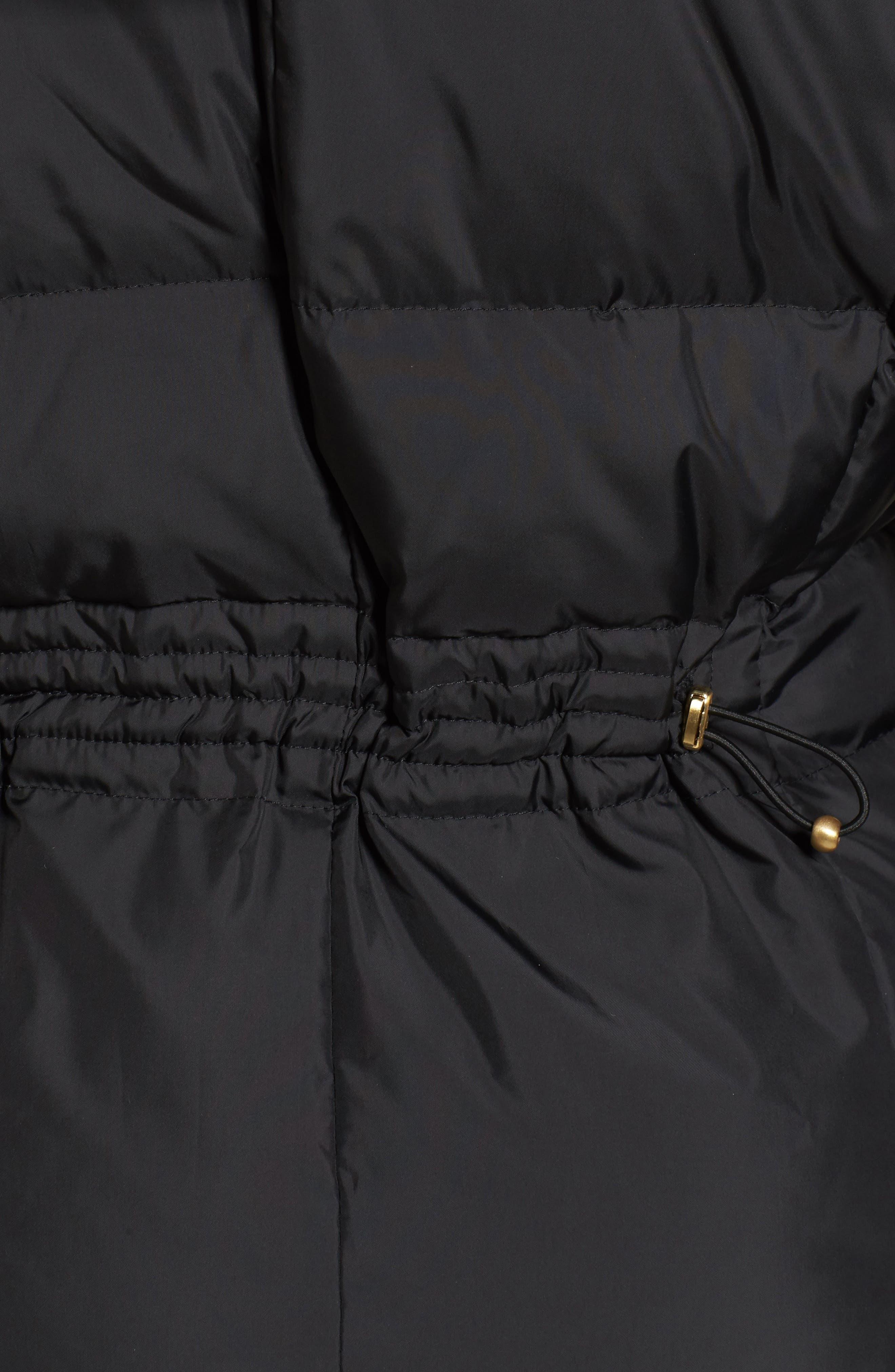3/4 Down Coat with Faux Fur Hood,                             Alternate thumbnail 6, color,                             001