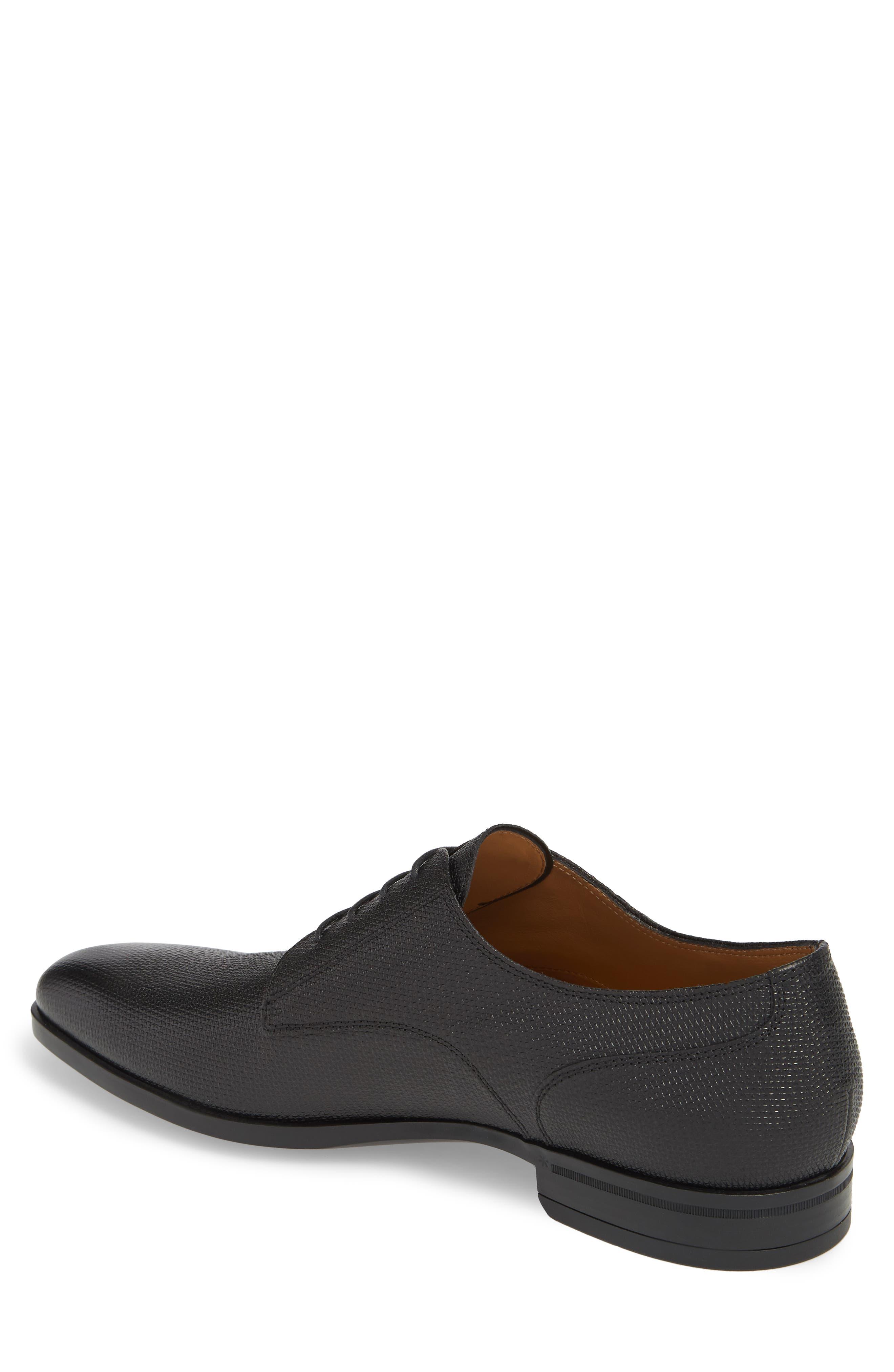 Hugo Boss Portland Embossed Plain Toe Derby,                             Alternate thumbnail 2, color,                             BLACK LEATHER