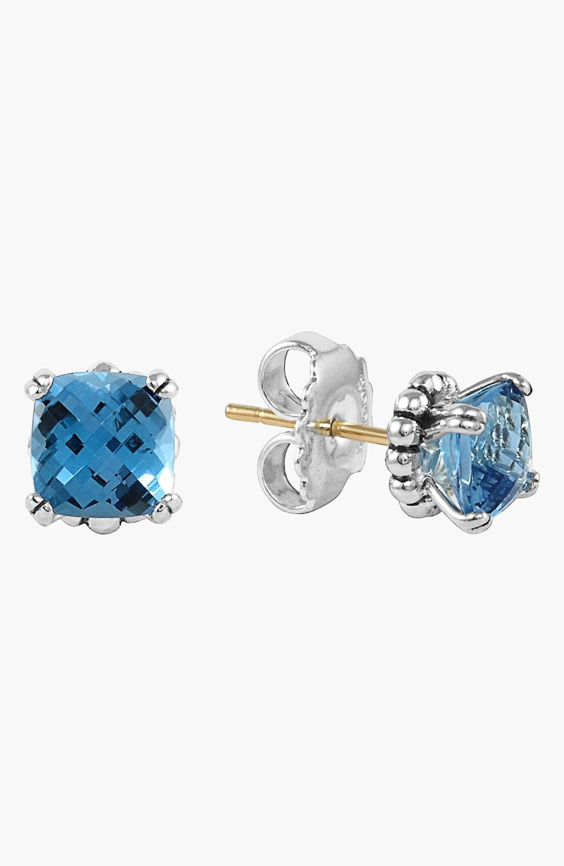 'Prism' Stud Earrings,                             Alternate thumbnail 5, color,                             SILVER/ BLUE TOPAZ
