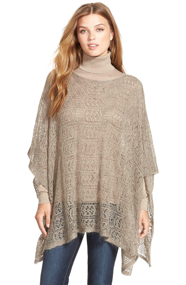 Lauren Ralph Lauren Lace Knit Poncho Sweater   Nordstrom